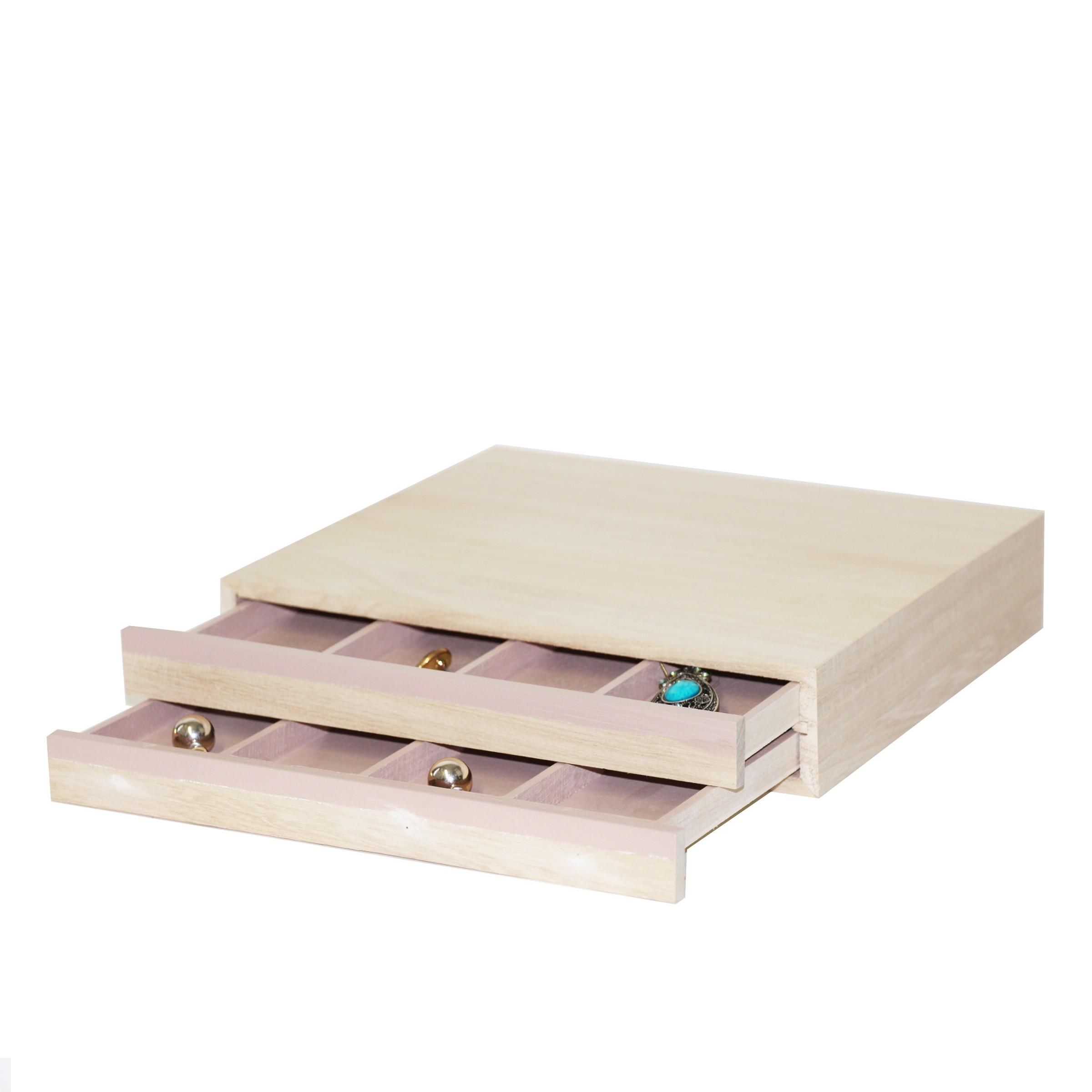 Boîte à bijoux en bois clair avec 2 tiroirs à 4 compartiments chacuns