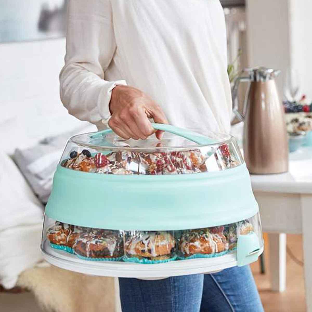 Boîte de transport et conservation pour gâteau en plastique transparent avec couvercle et poignée