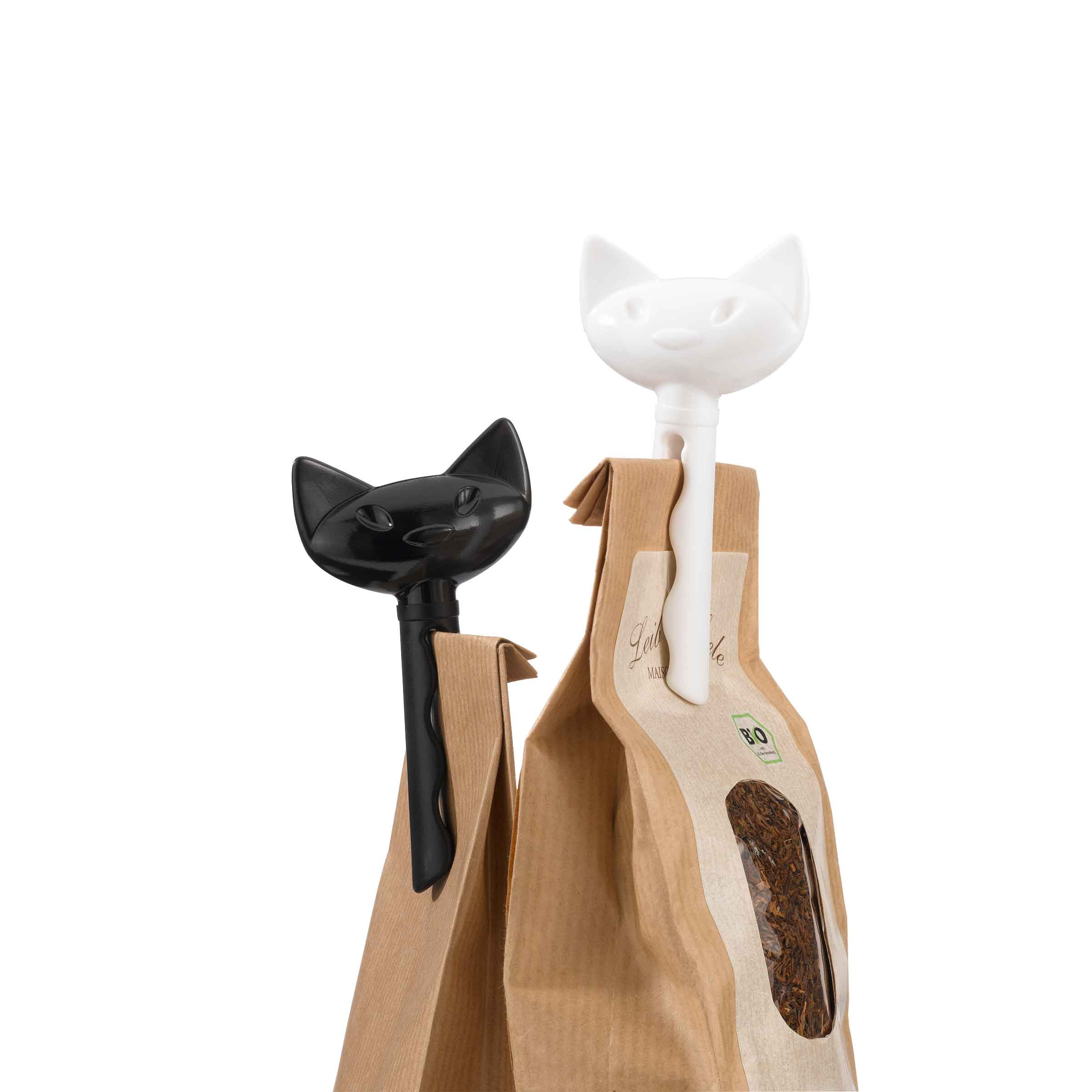 Deux pinces à sachets têtes de chat 1 noire 1 blanche
