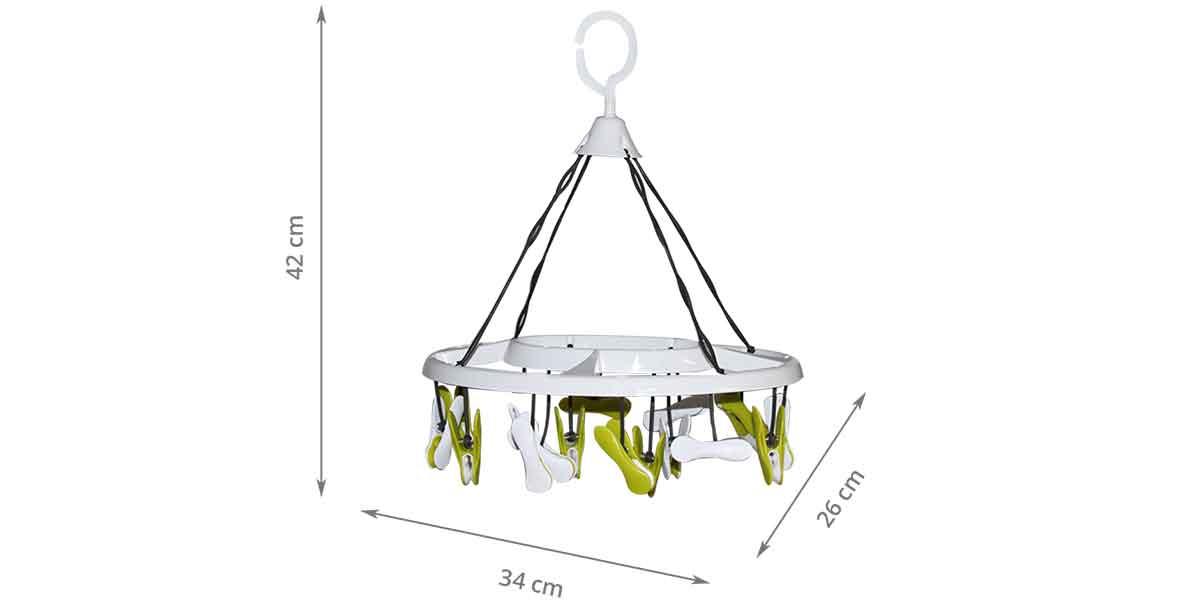 Dimensions du séchoir tourniquet 16 clips blanc