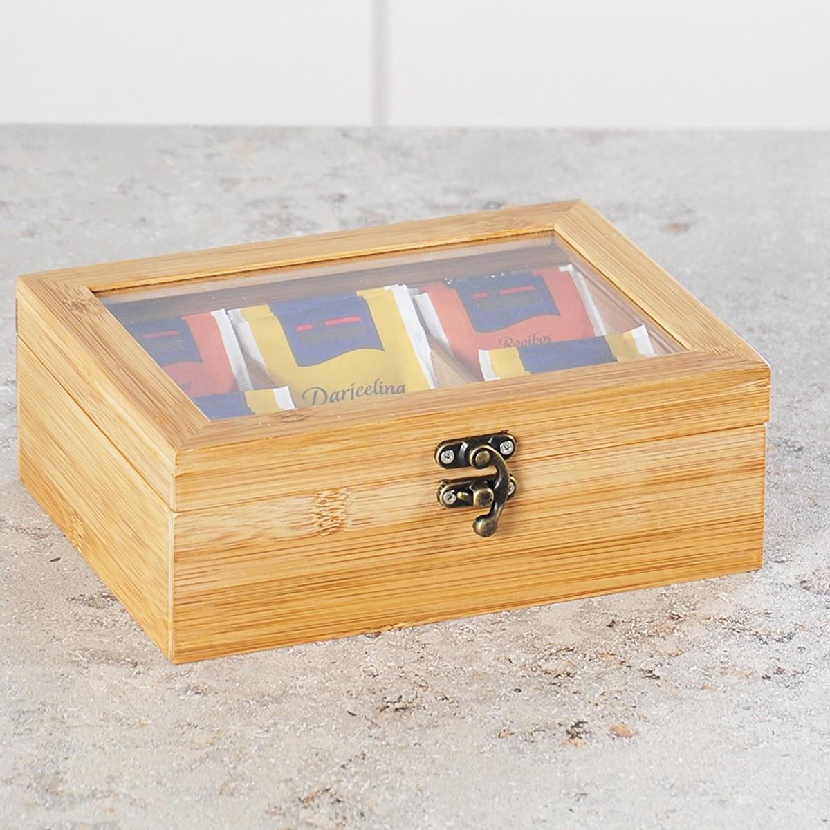 Boîte de rangement en bois avec fenêtre en verre transparent pour sachets de thé et capsules de café