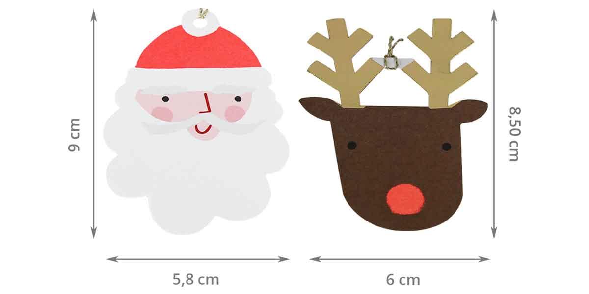 8 étiquettes cadeaux père Noël et rennes