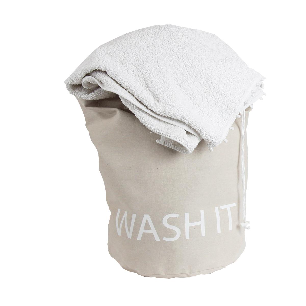 Sac linge sale en tissu beige clair - Sac a linge sale tissu ...