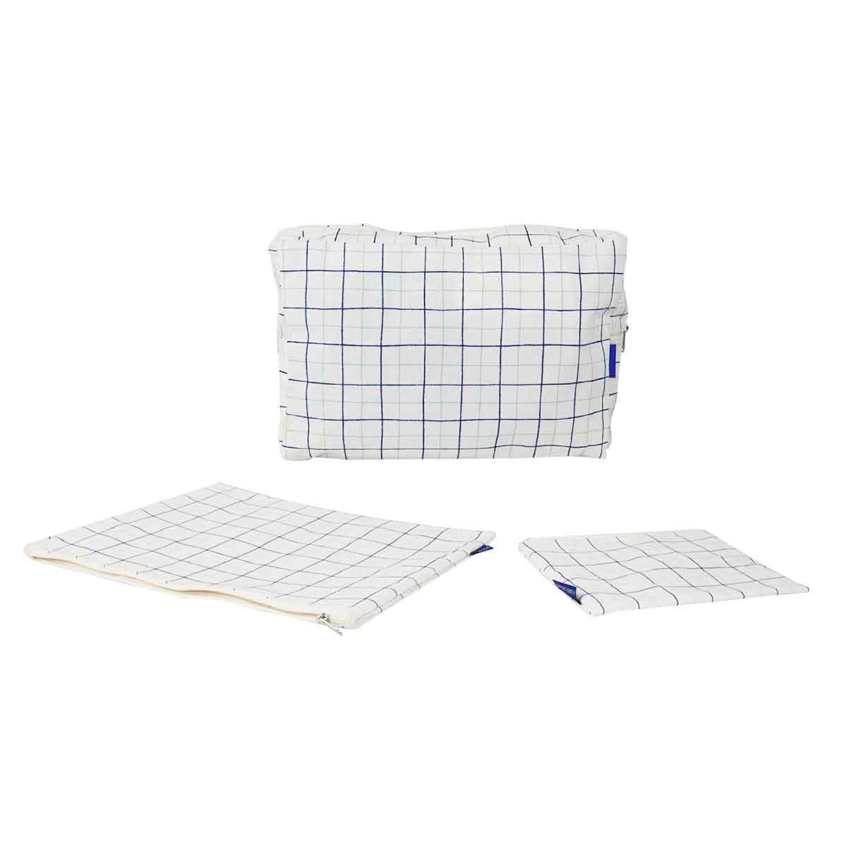 Pochette plate en tissu à carreaux bleu blanc