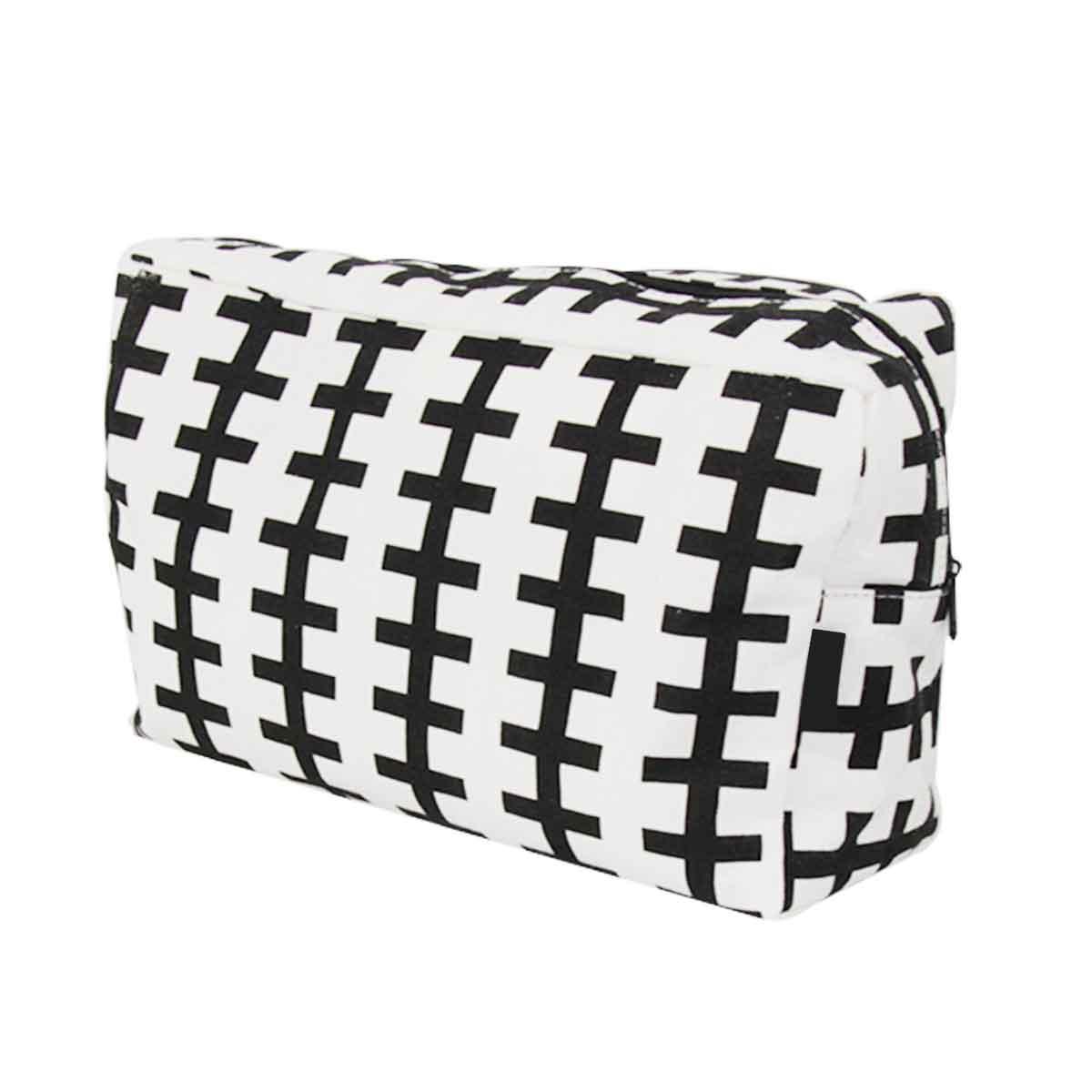 pochette de toilette rectangulaire en tissu à motifs noirs et blanc