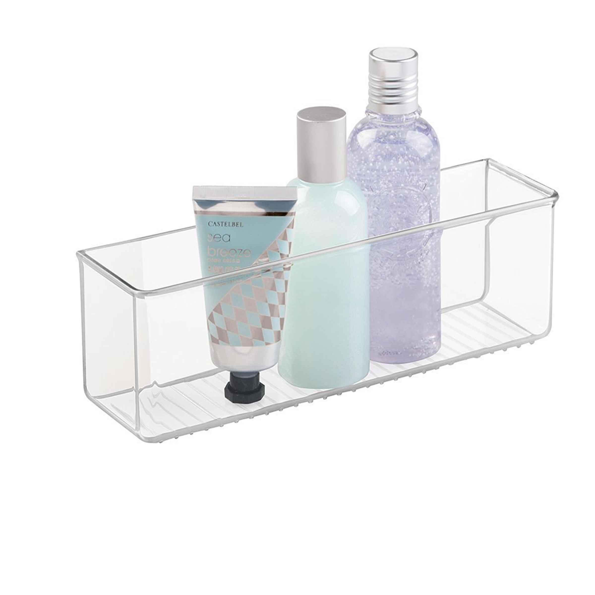 Bac de rangement adhésif pour salle de bain en plastique transparent taille L