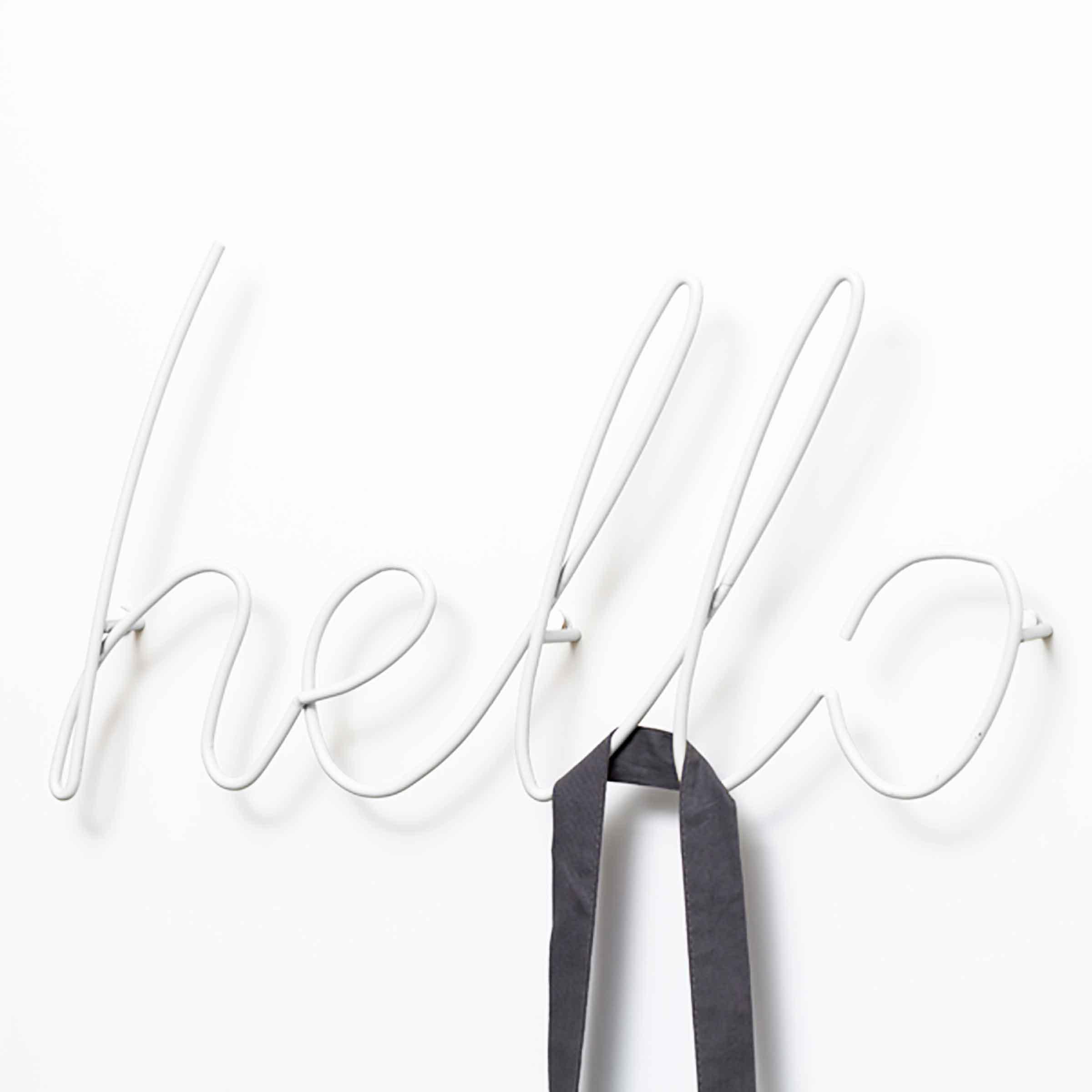 Patère filaire blanche design hello