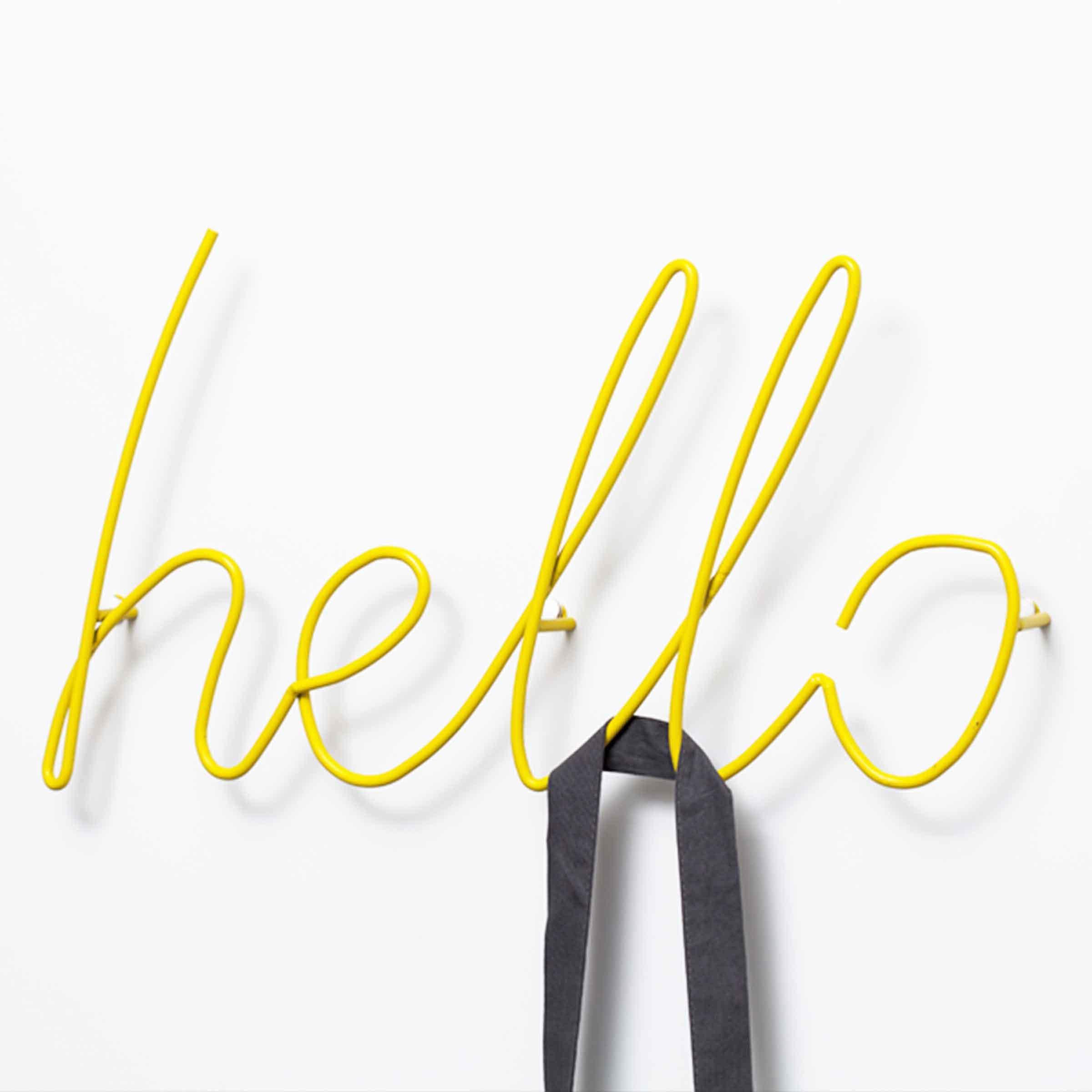 Patère métallique filaire jaune clair Hello