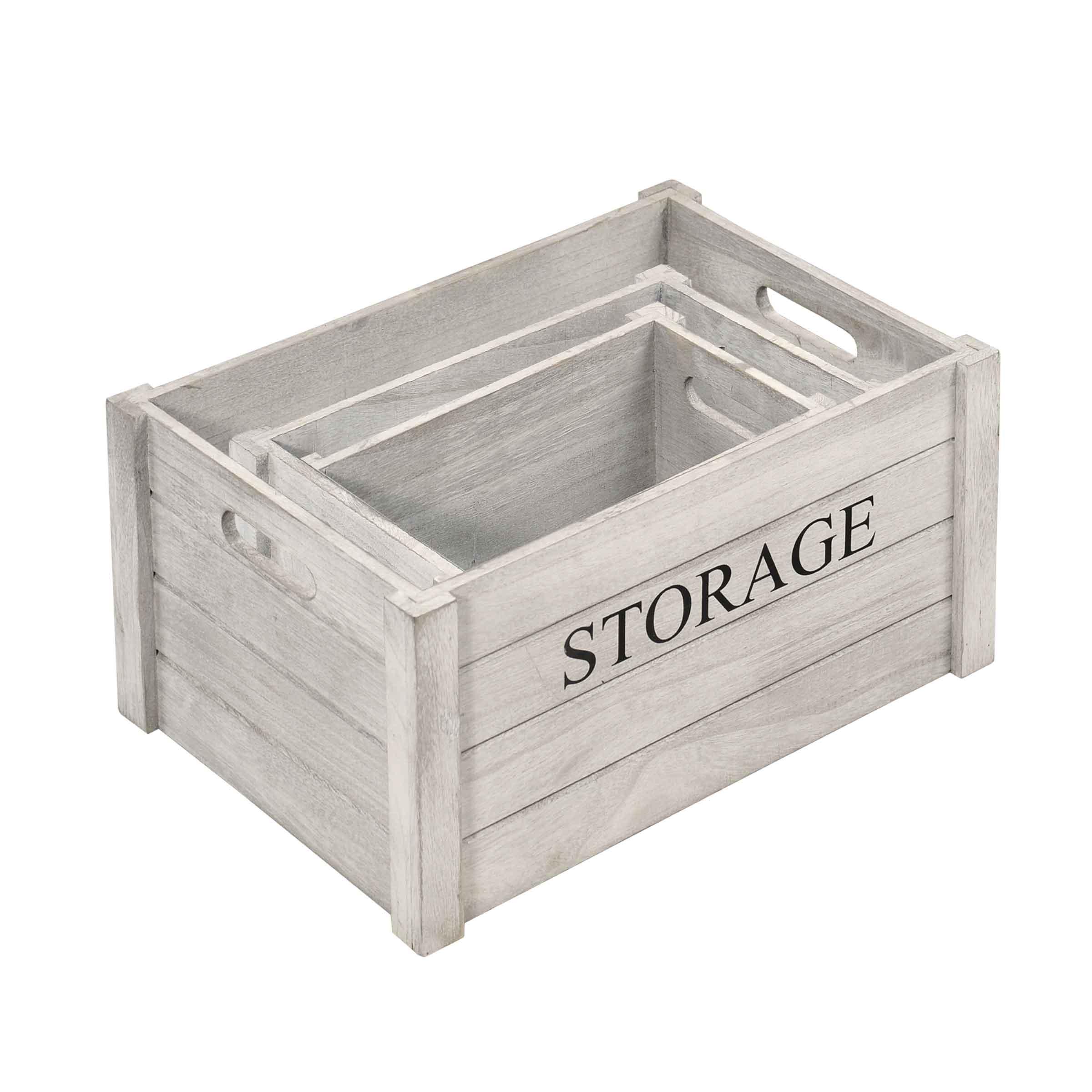 Caisse de rangement taille L en bois gris patiné avec inscription storage