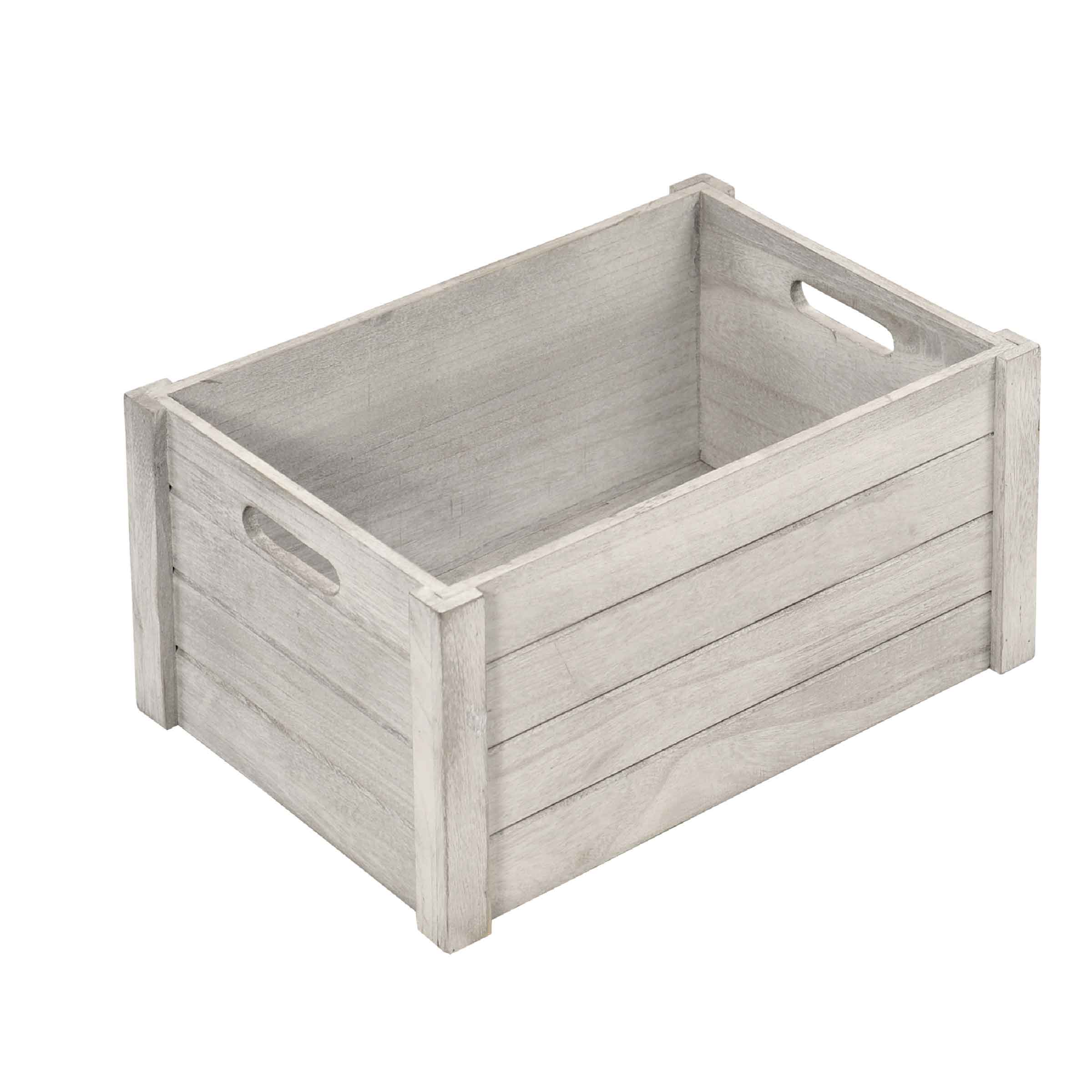 Caisse de rangement taille S en bois gris patiné avec inscription storage