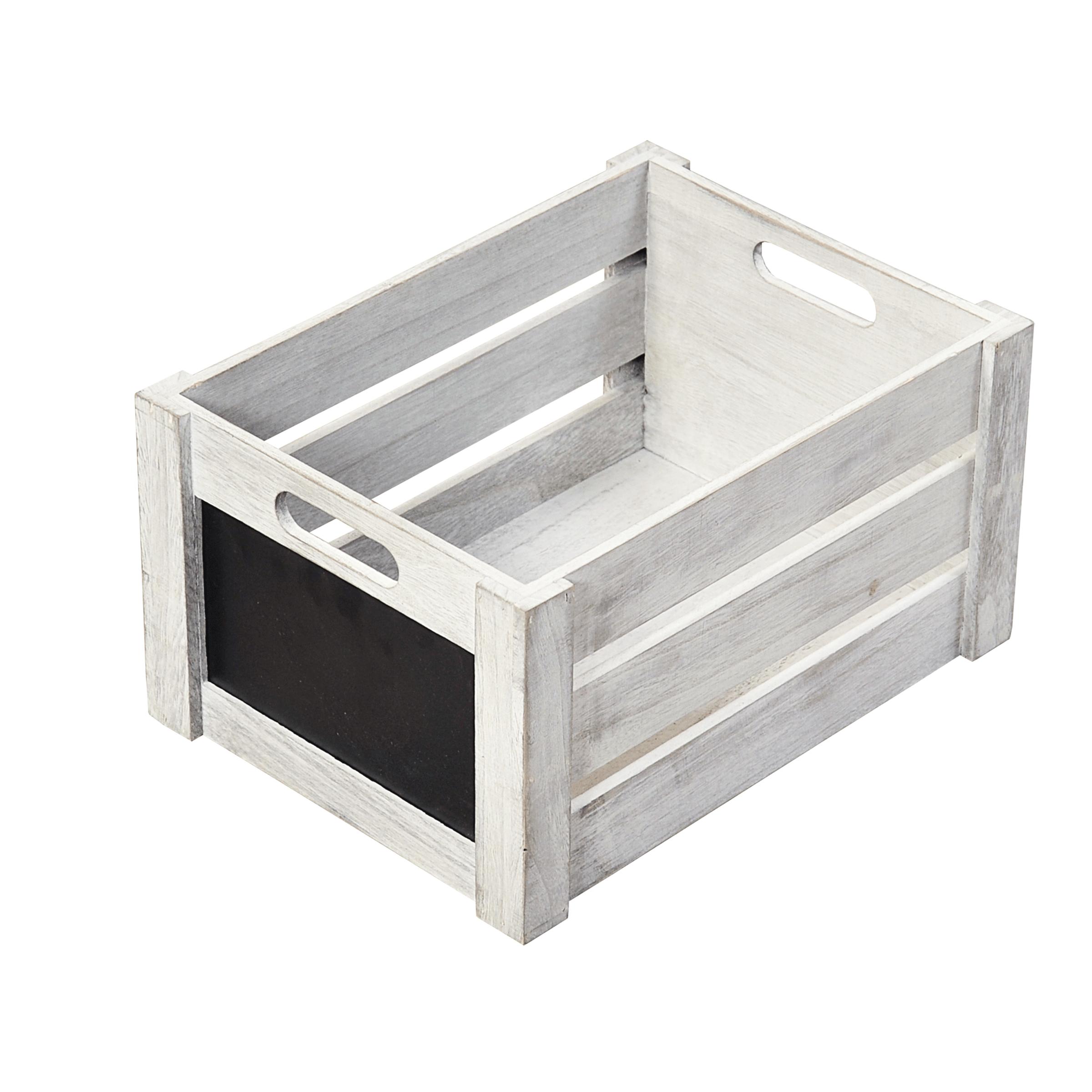 Caisse de rangement en bois gris clair avec façade en ardoise taille S