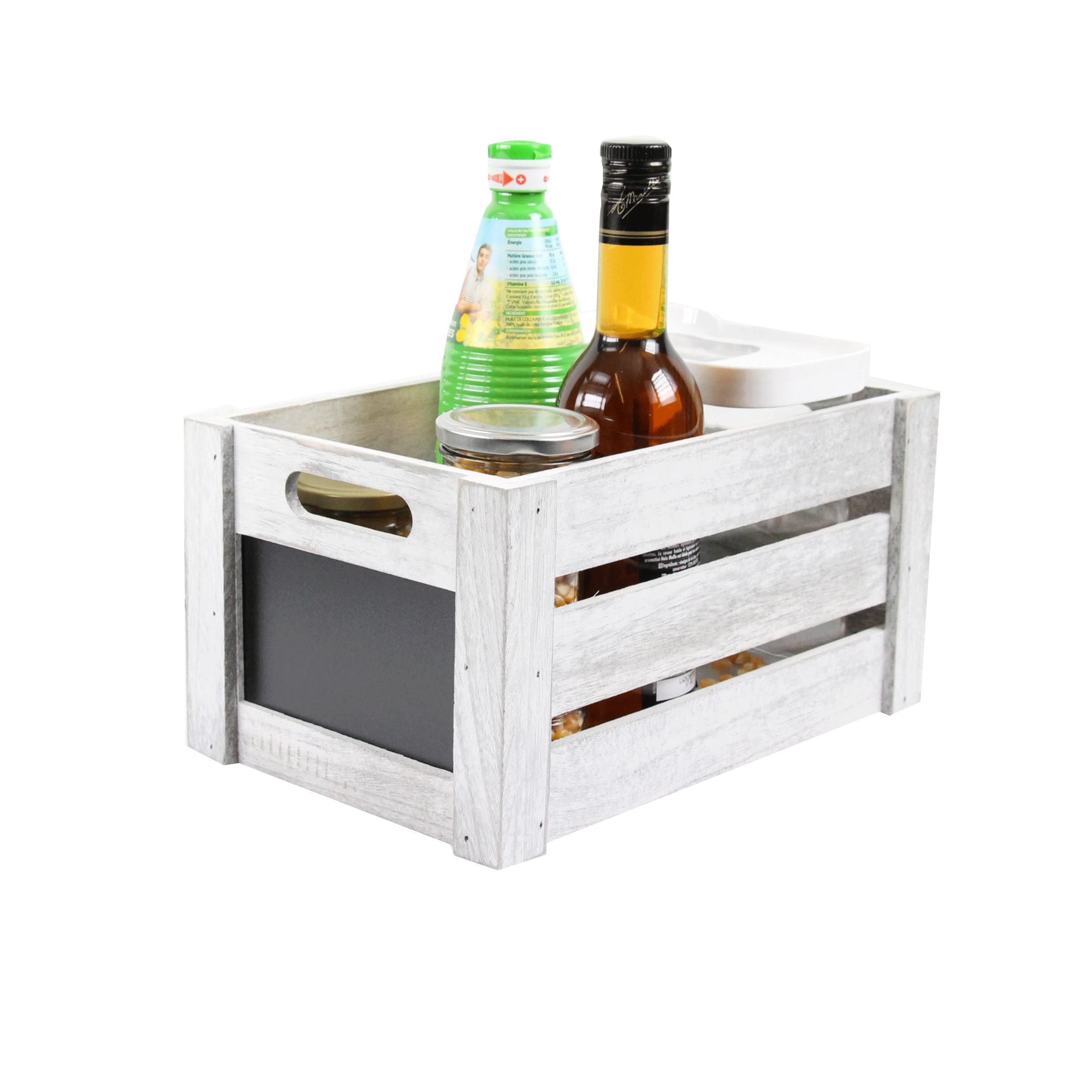 Caisse en bois gris avec façade en ardoise noire et 2 poignées taille M