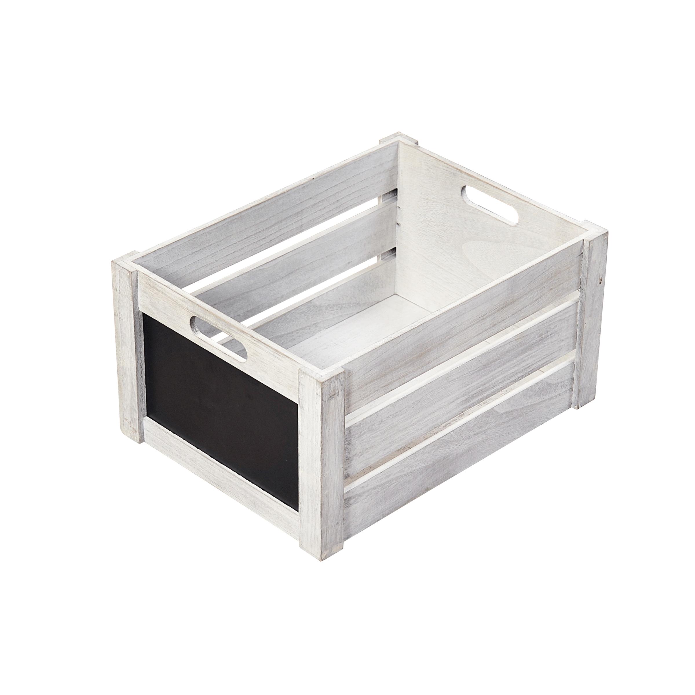 Caisse de rangement en bois gris patiné avec ardoise en façade