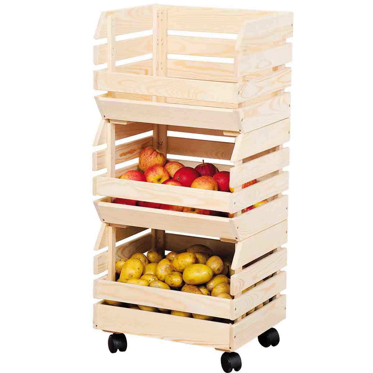 cagettes sur roulettes meuble de rangement fruits l gumes. Black Bedroom Furniture Sets. Home Design Ideas