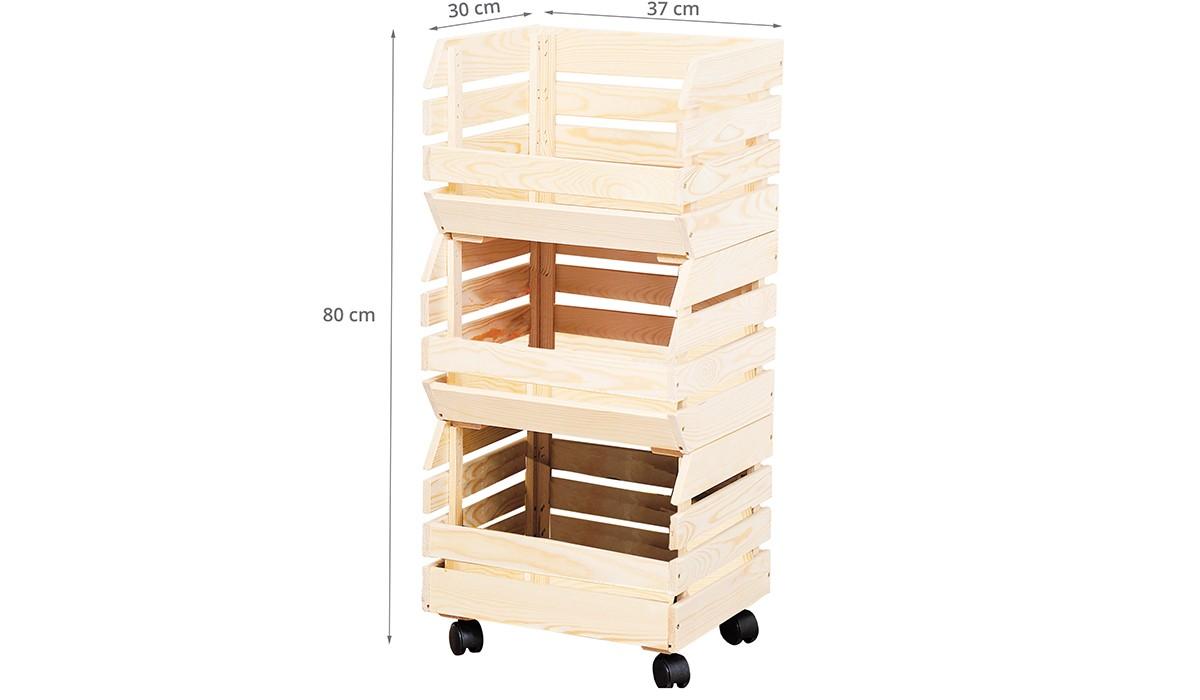cagettes sur roulettes meuble de rangement fruits l gumes. Black Bedroom Furniture Sets. Home Design Ideas