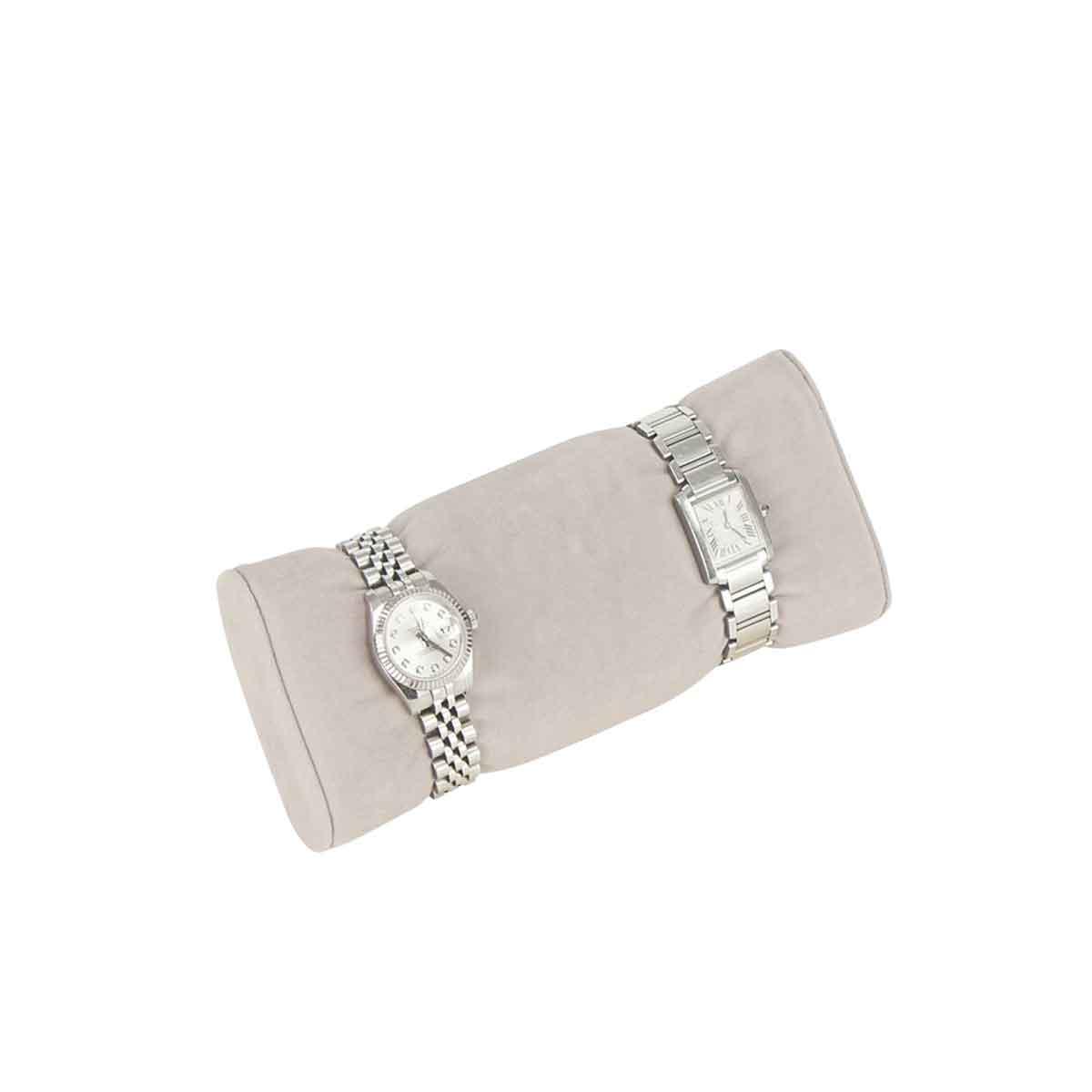 Rouleau de rangement pour montres en velours gris beige