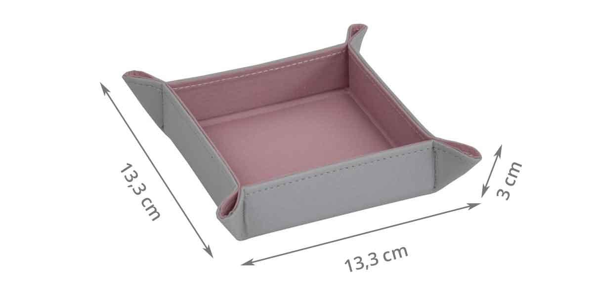 Dimensions du vide poche rose et gris