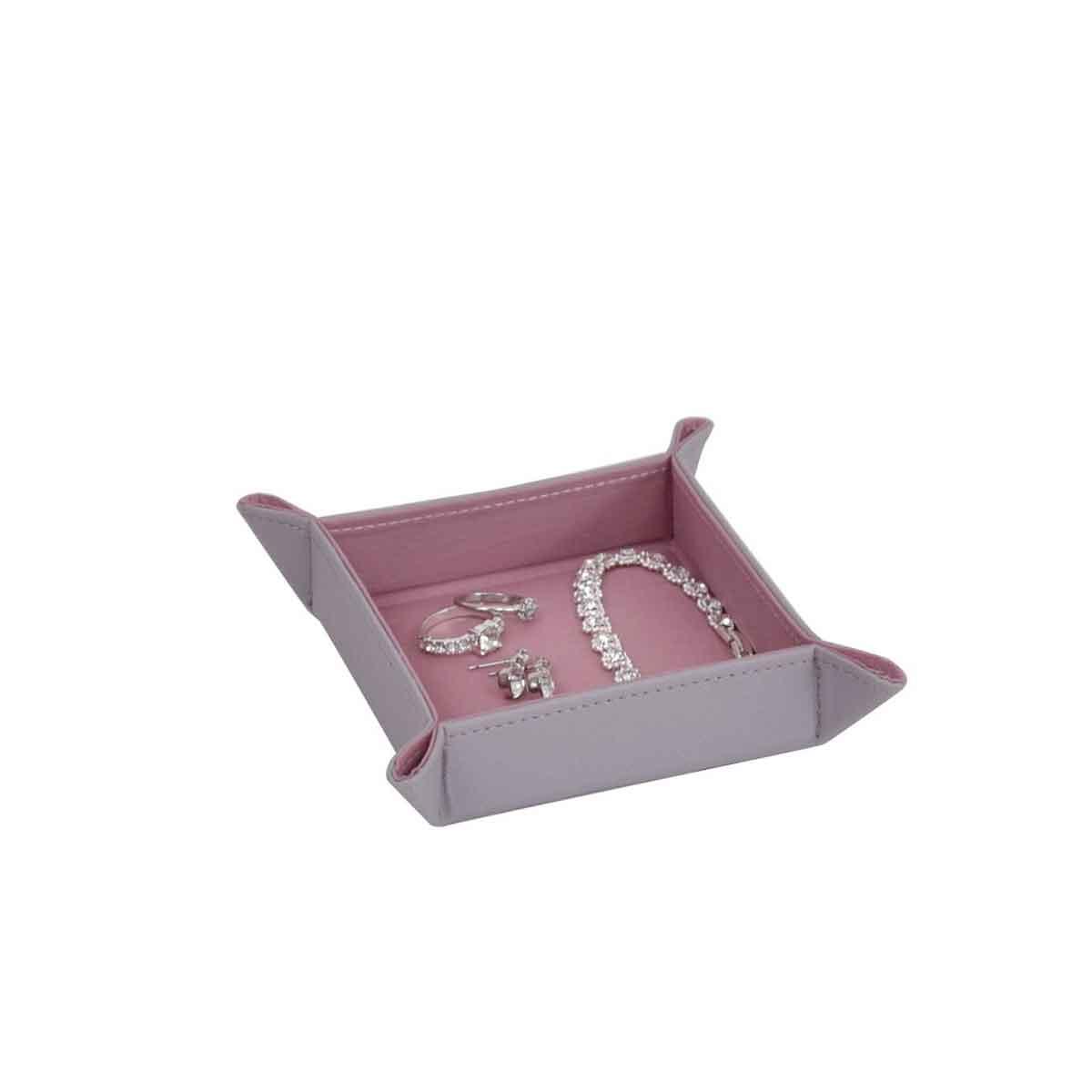 vide poche carré en velours rose et gris pour bijoux