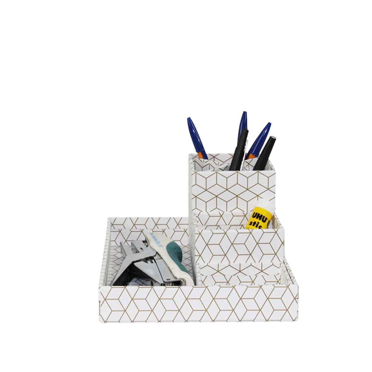 organisateur de bureau en carton blanc et motifs géométriques or