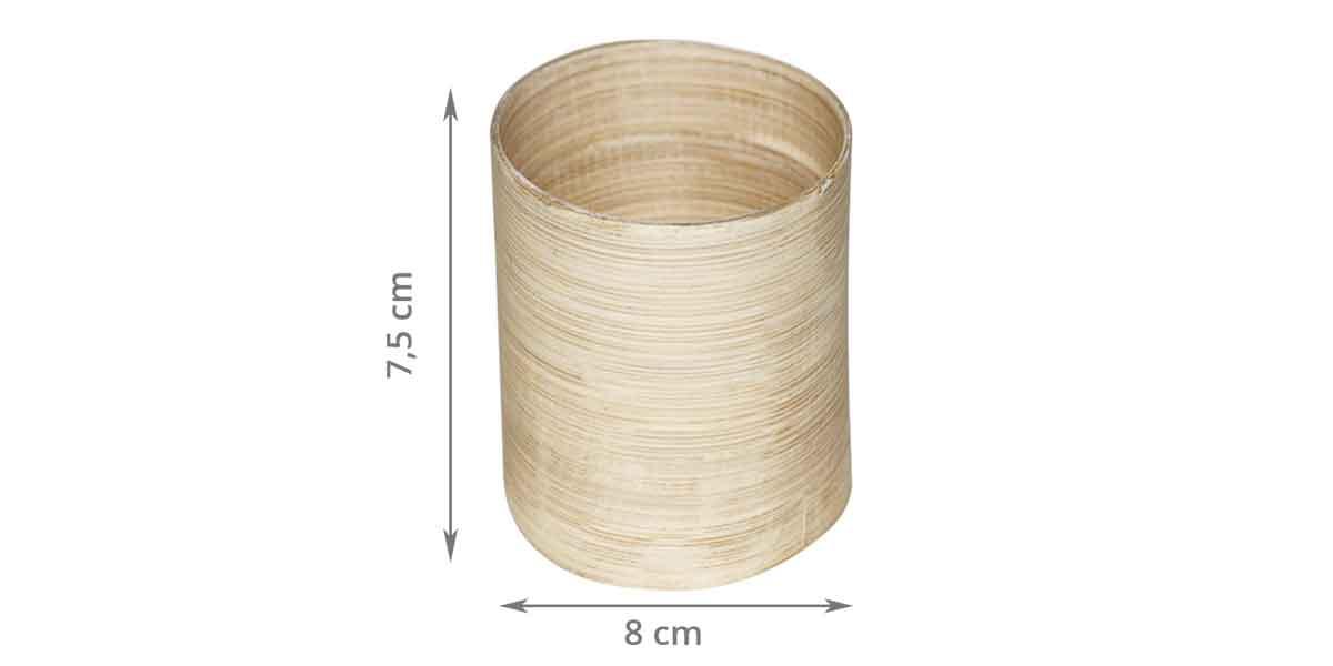 Dimensions du pot à crayons cosmétiques en bambou