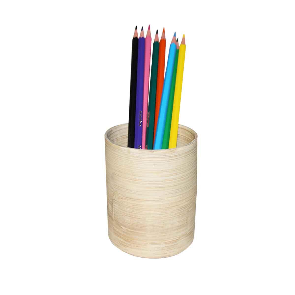 Pot à crayons cylindrique en bambou clair