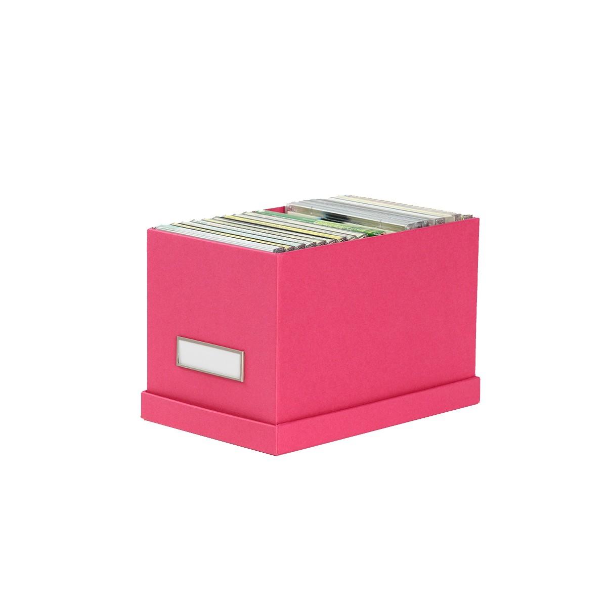 Petite boîte de rangement en carton fuchsia pour cd