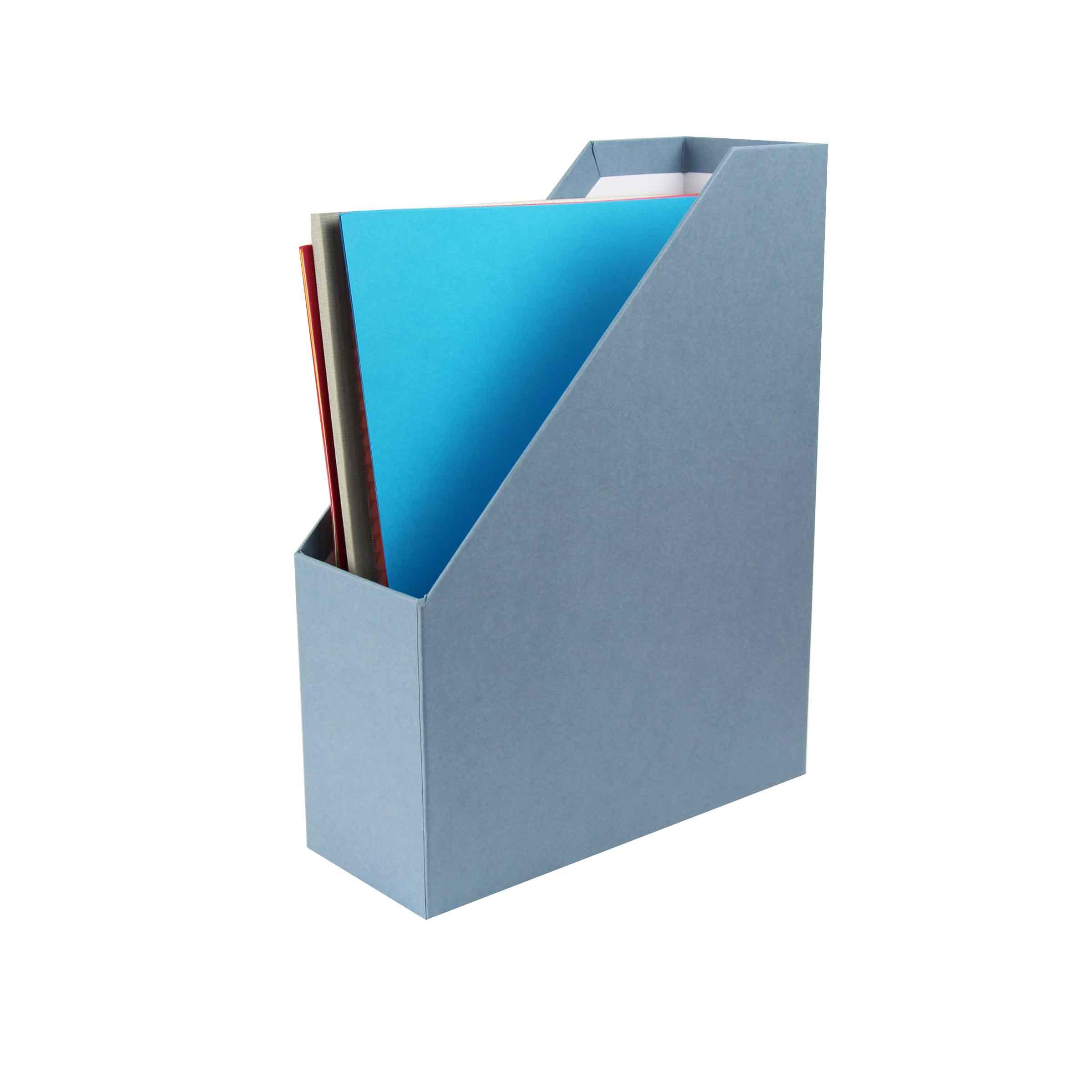 Rangement vertical pour dossies bleu gris - Boite de rangement verticale ...