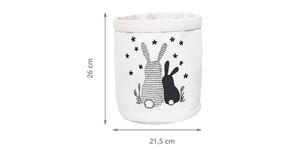 Dimensions du panier en tissu enfant avec lapins