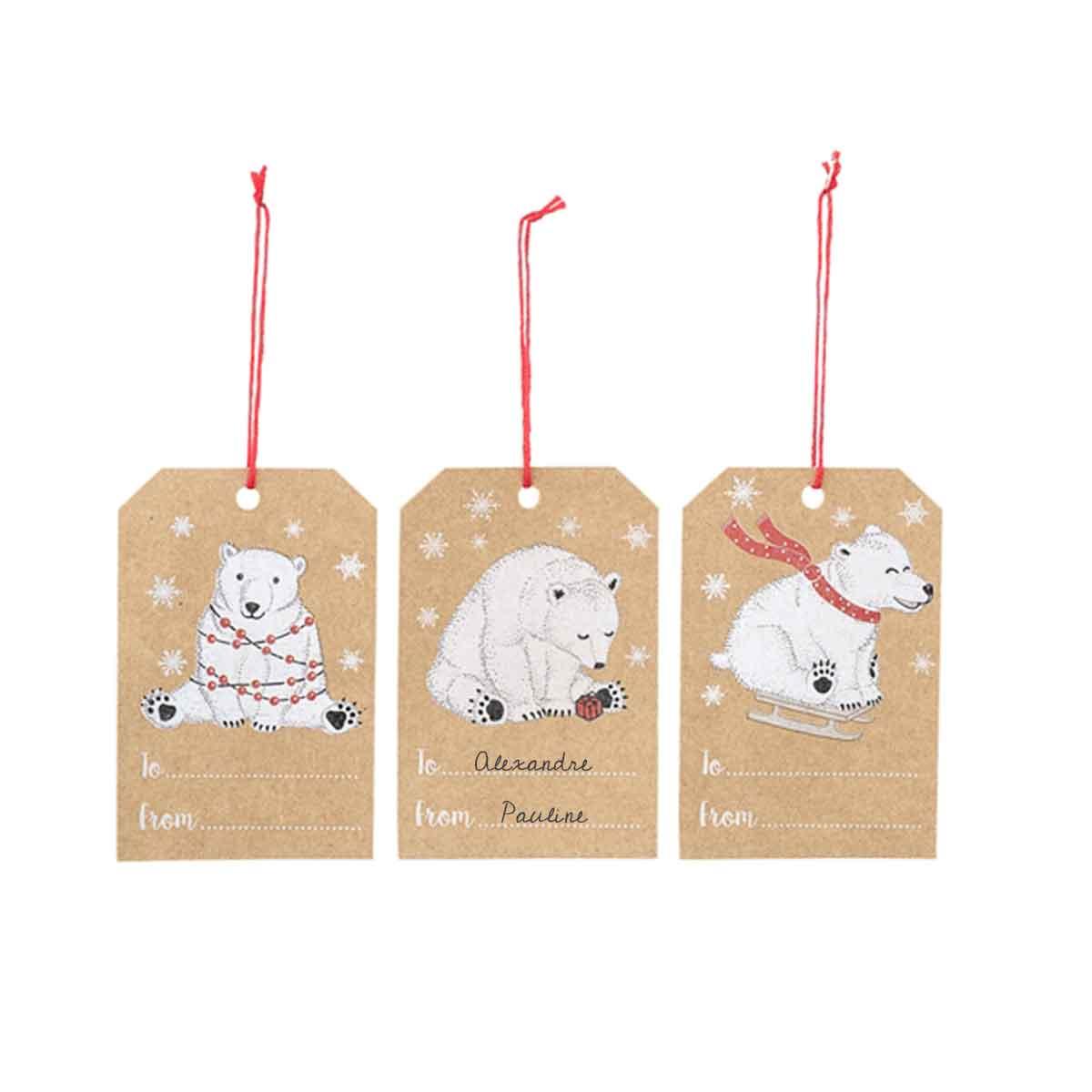 étiquettes en carton kraft pour cadeaux avec motifs ours blanc