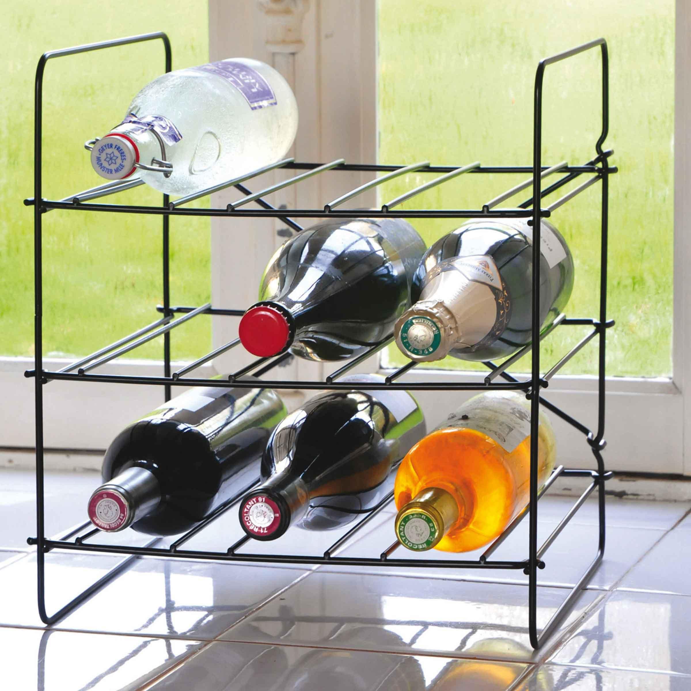 Casier à vin ou à boisson en métal noir pour 9 bouteilles