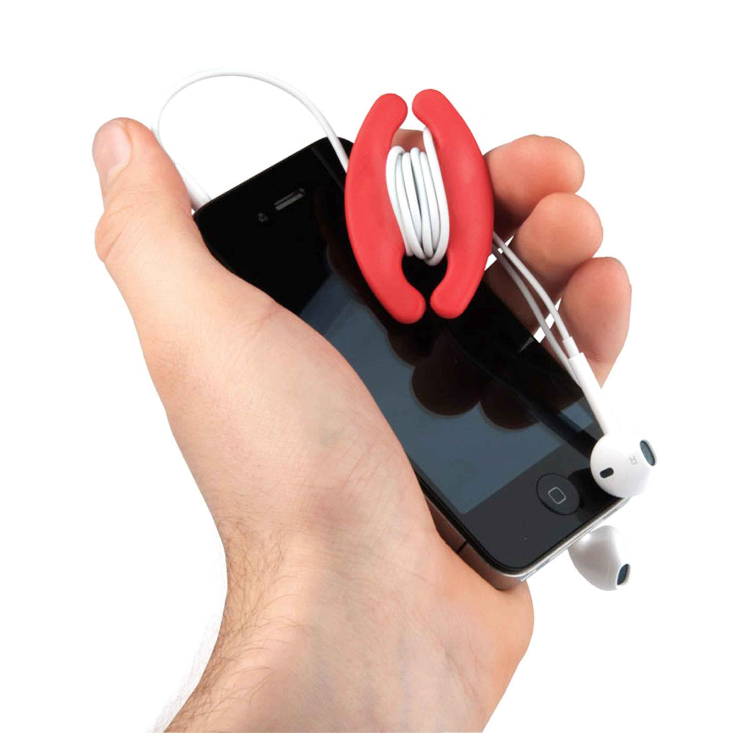 Enrouleur en plastique rouge pour écouteurs