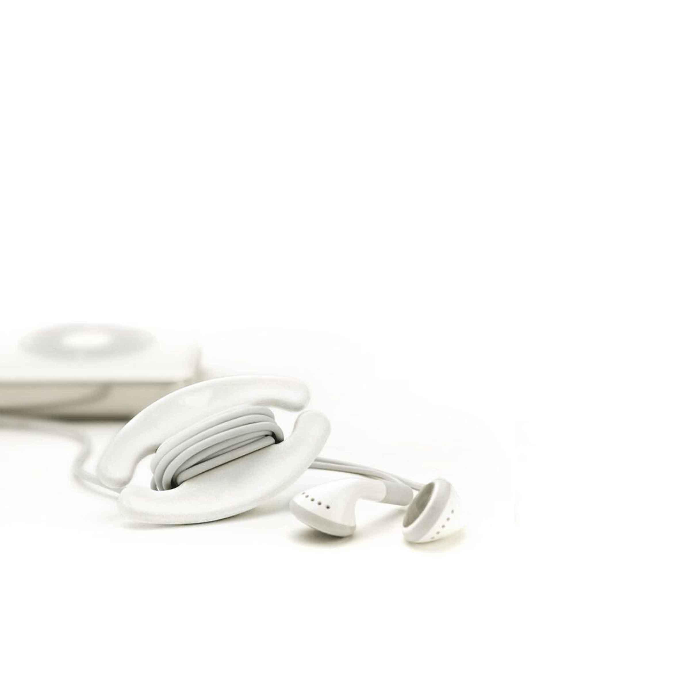 Enrouleur en plastique blanc pour écouteurs