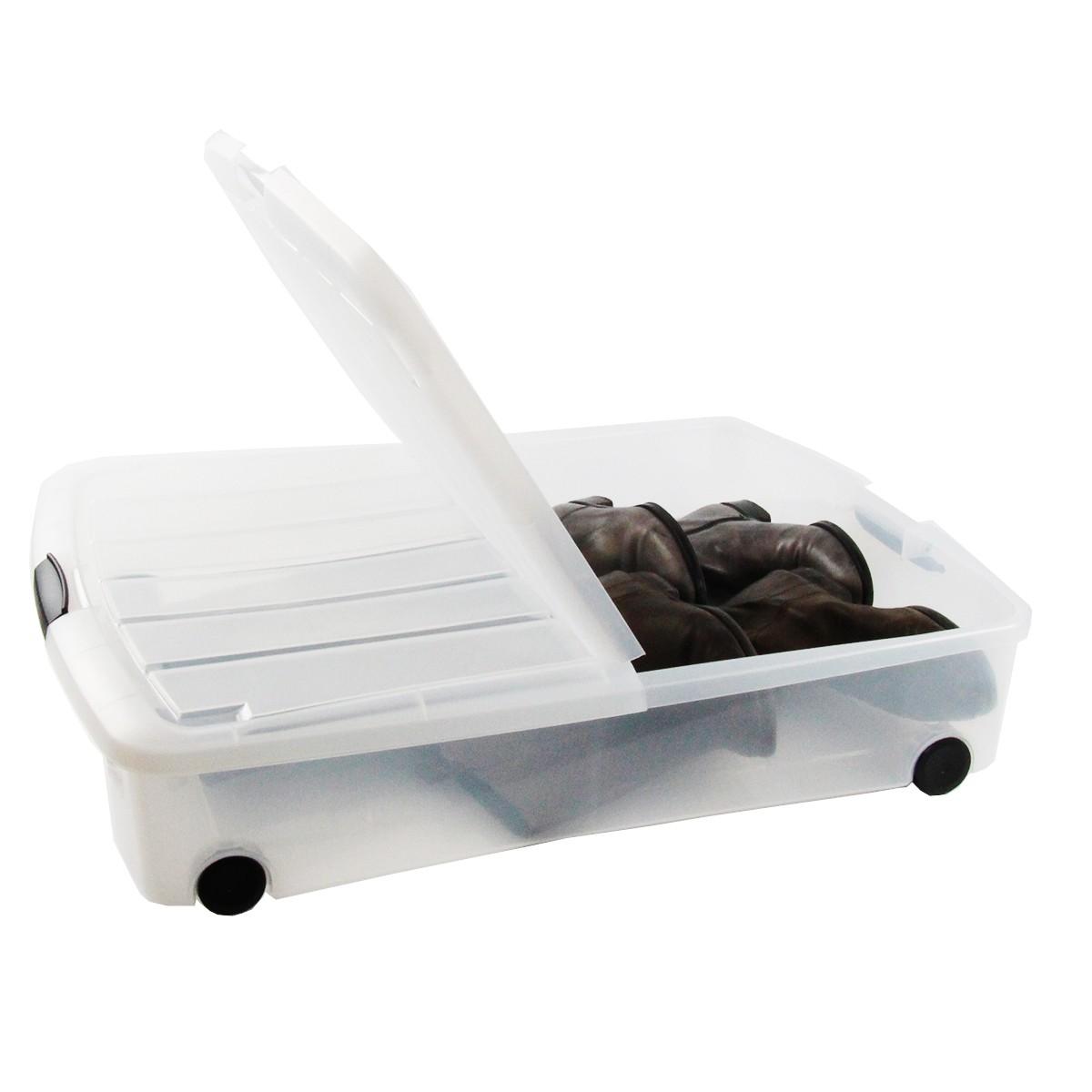 Bo te plastique rangement sous le lit - Bac rangement plastique sous lit ...