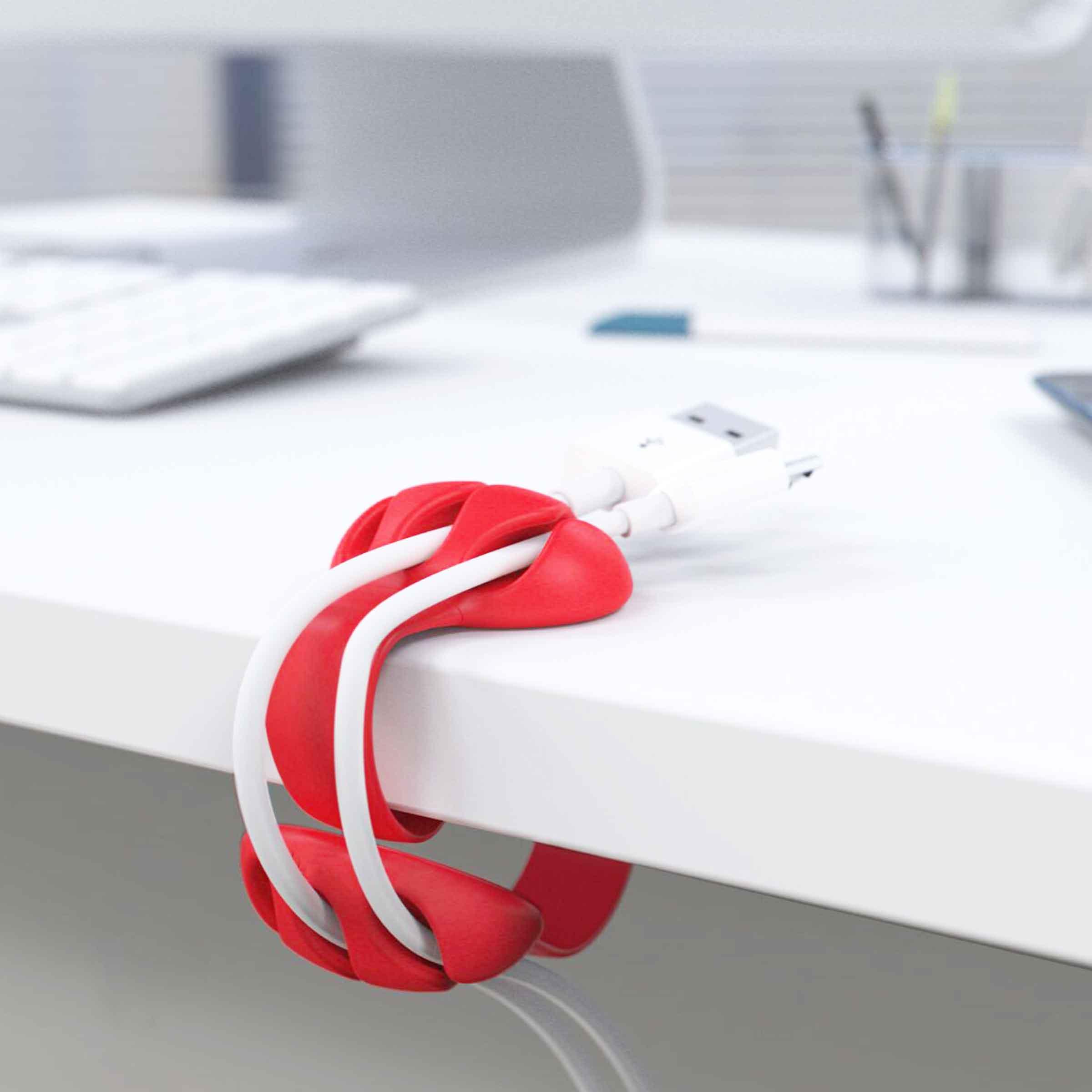 Attache câble en plastique rouge