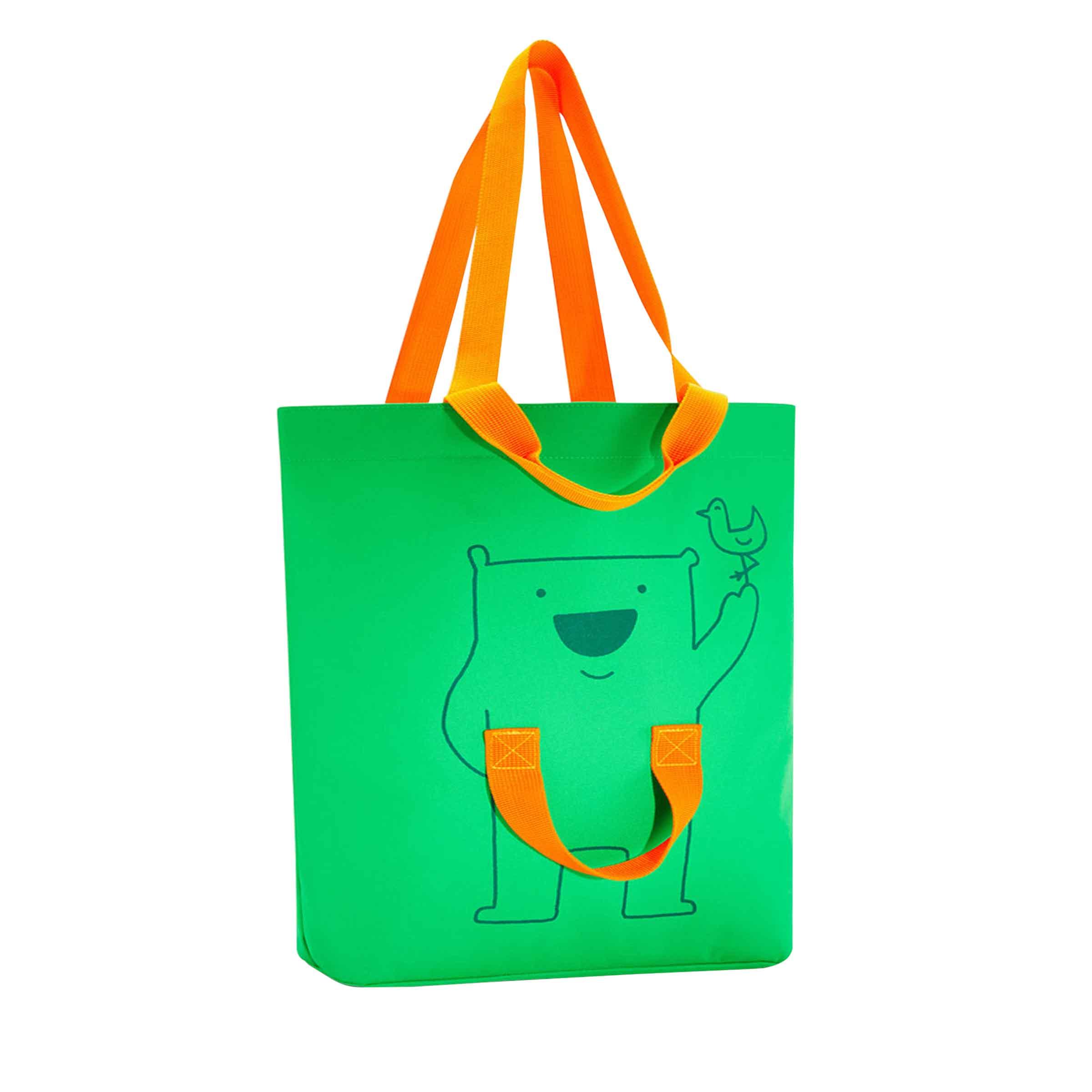 Sac de courses vert et orange avec 4 anses