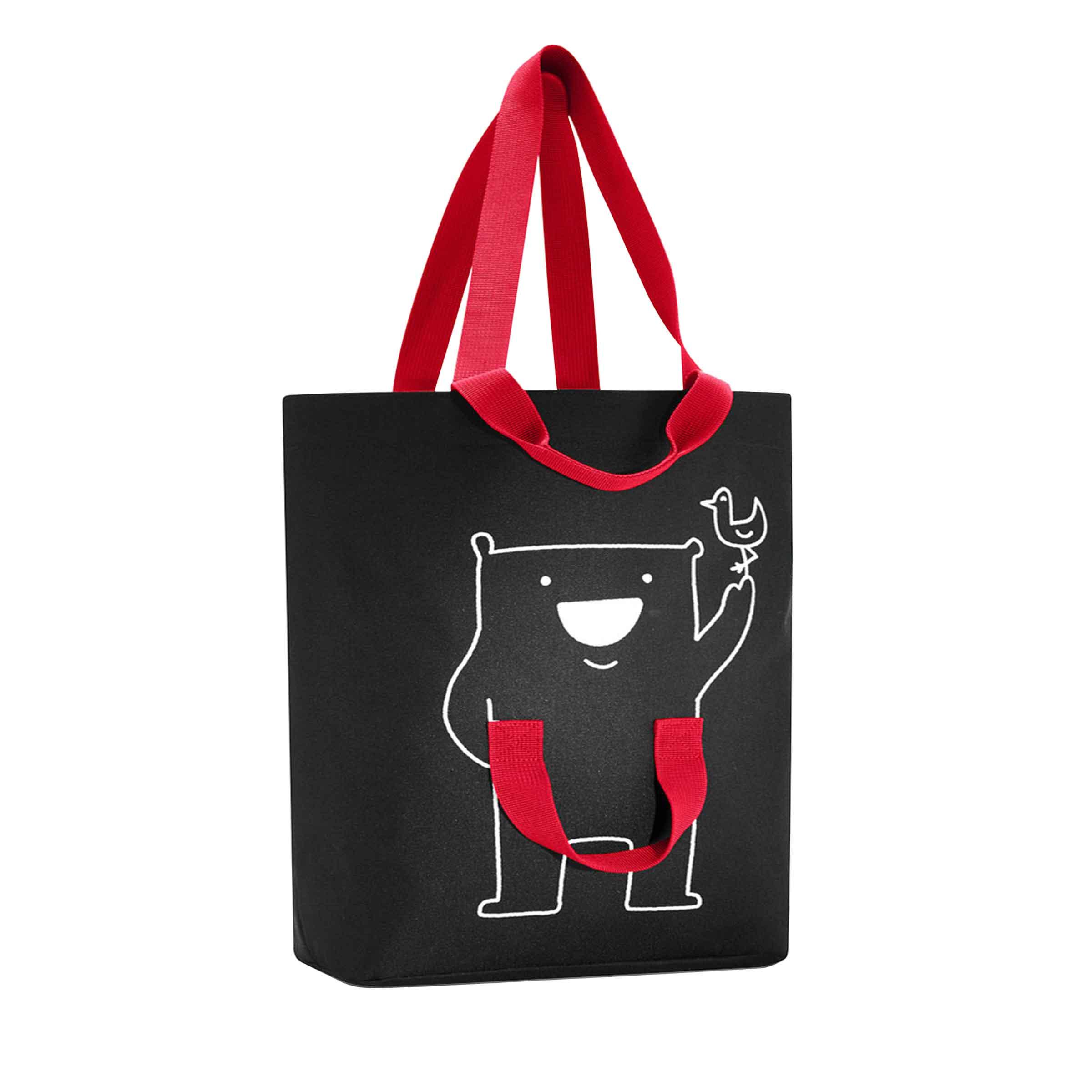 Tote bag fond noir motif rouge avec 4 anses