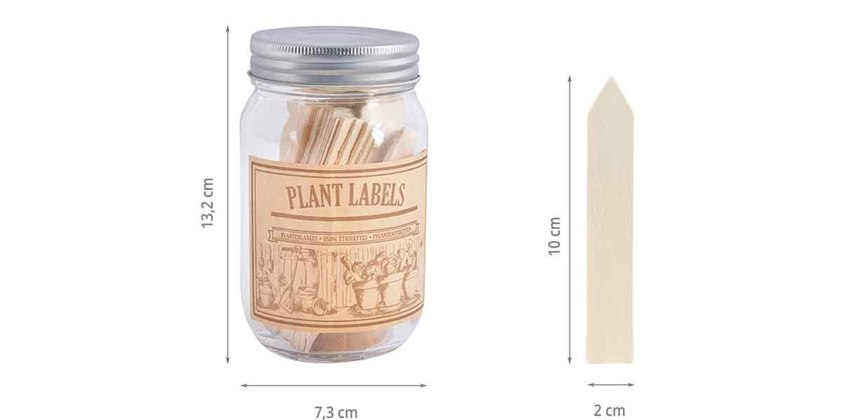 dimensions du bocal et de l'étiquette