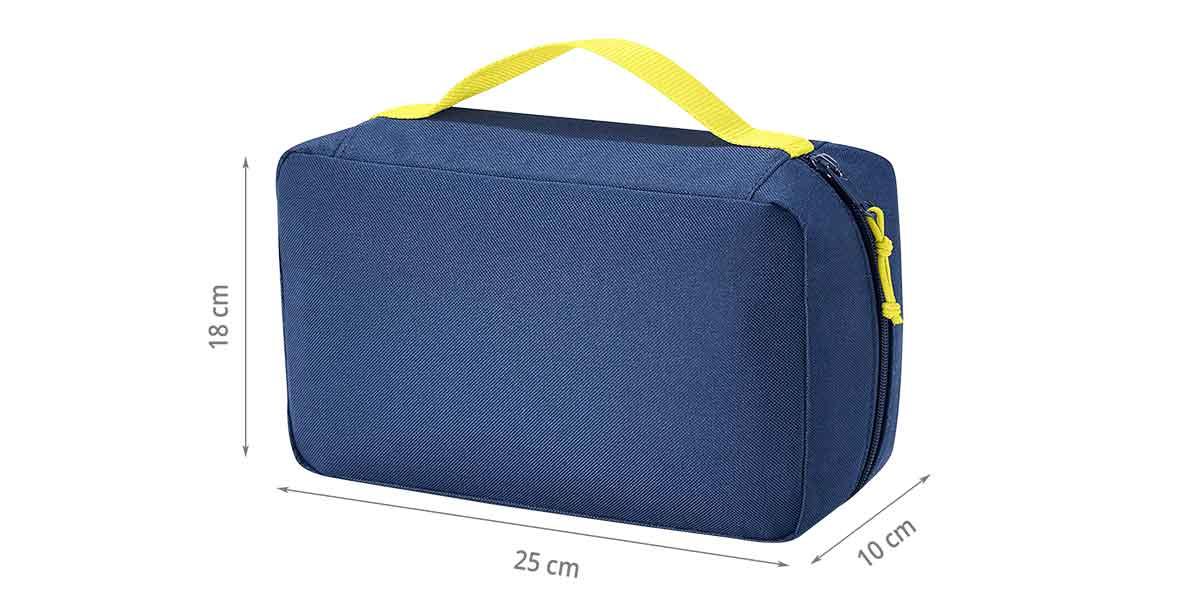 Dimensions de la trousse de toilette bleu marine et jaune