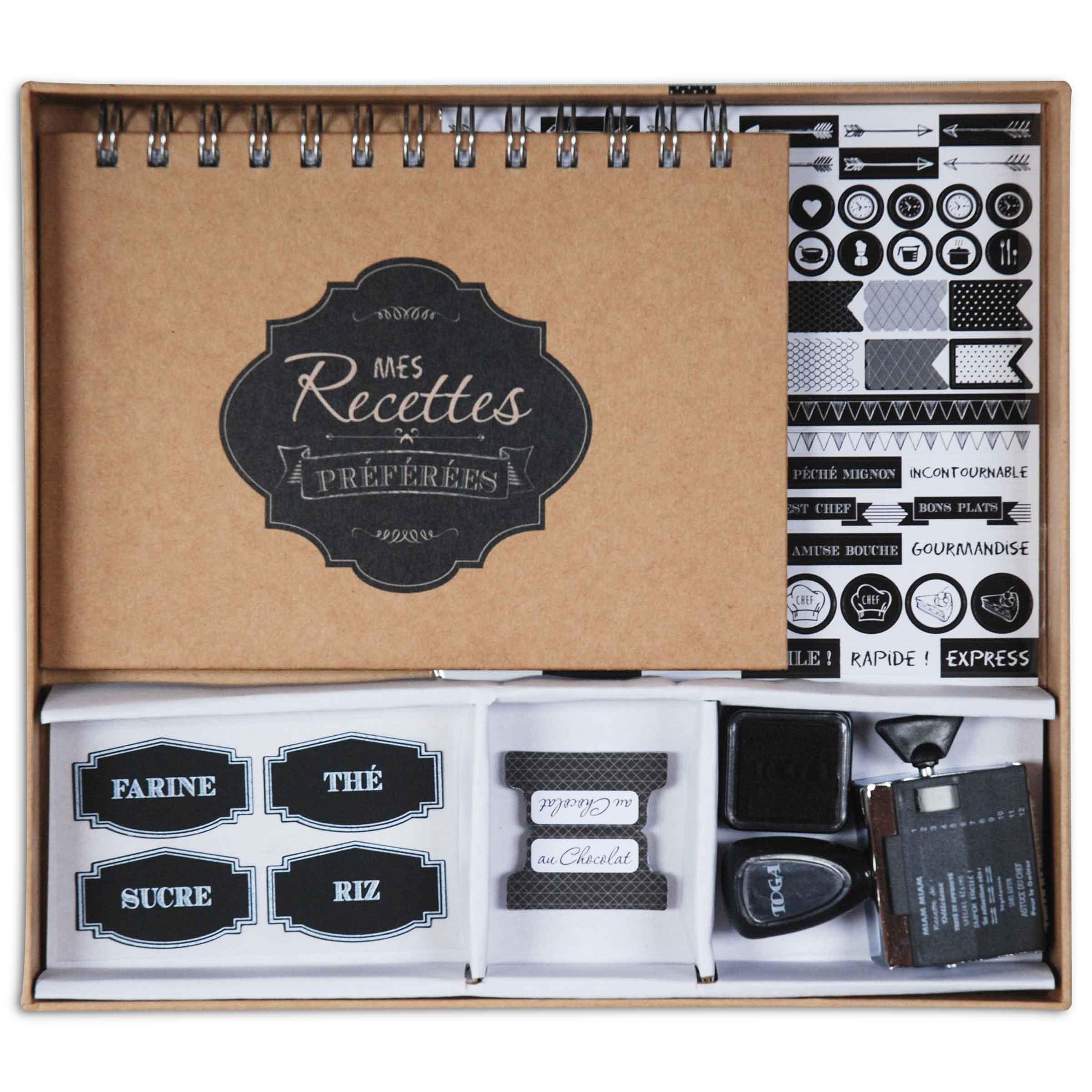 kit pour carnet de recettes avec stickers marque-pages et tampons