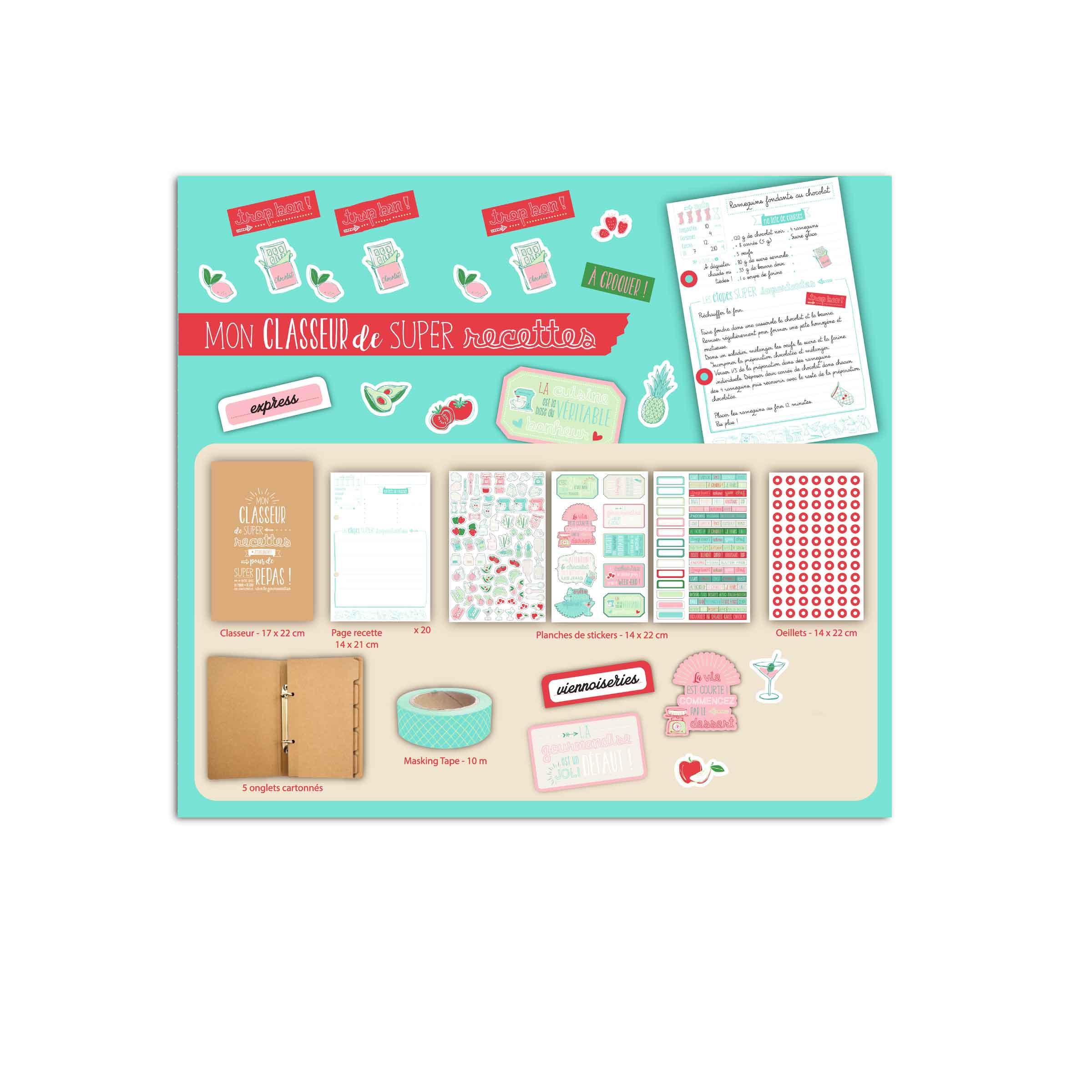kit avec classeur et stikers pour recettes