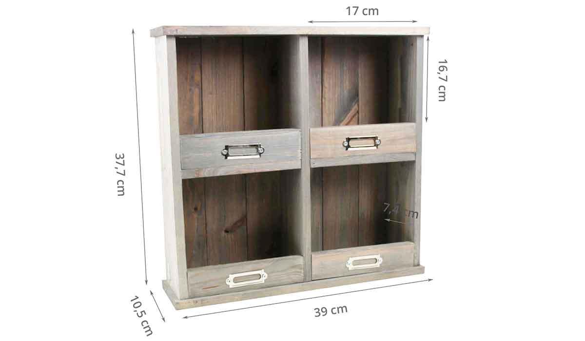 etag re murale en bois vieilli casiers on range tout. Black Bedroom Furniture Sets. Home Design Ideas