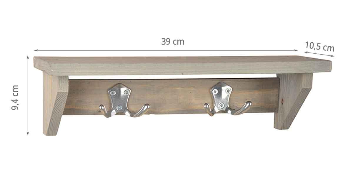 dimensions de l'étagère planche avec crochèts