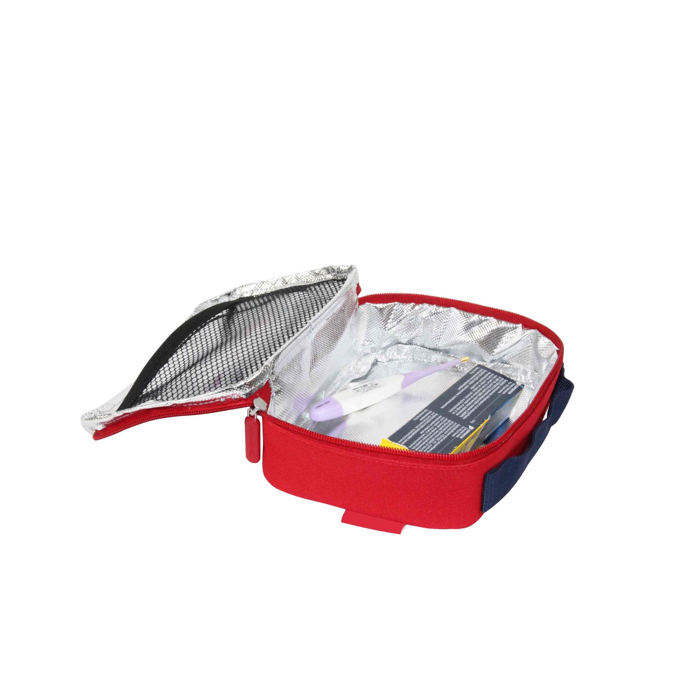 sac isotherme zippé rouge pour vaccins et médicaments thermosensibles