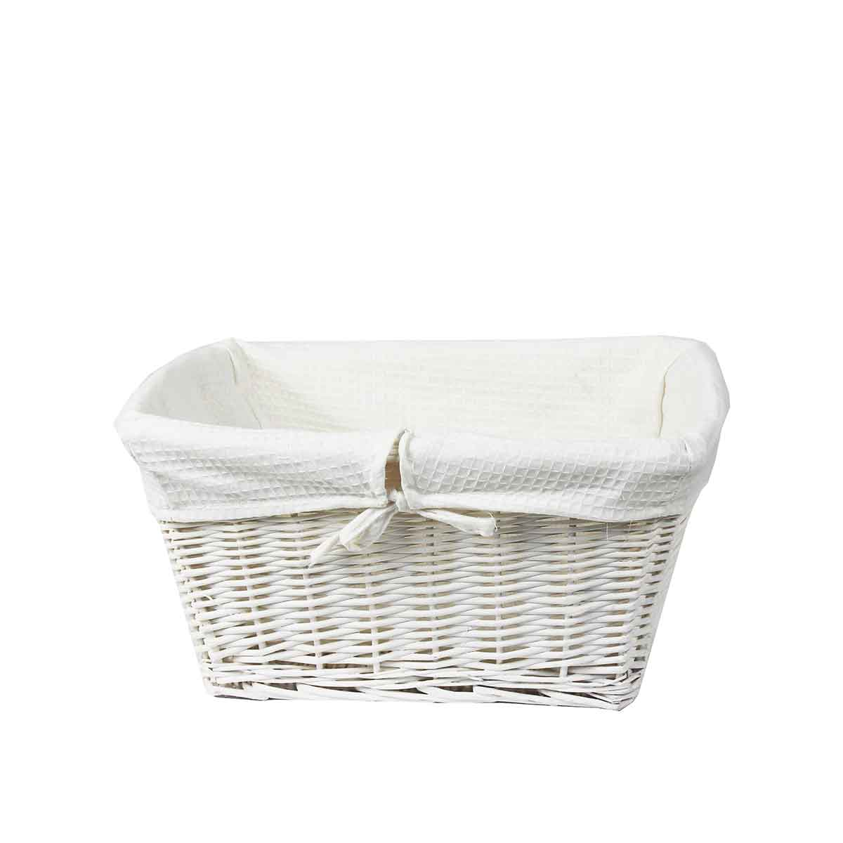 Panier osier blanc avec housse tissu blanc panier en osier - Panier en osier ikea ...