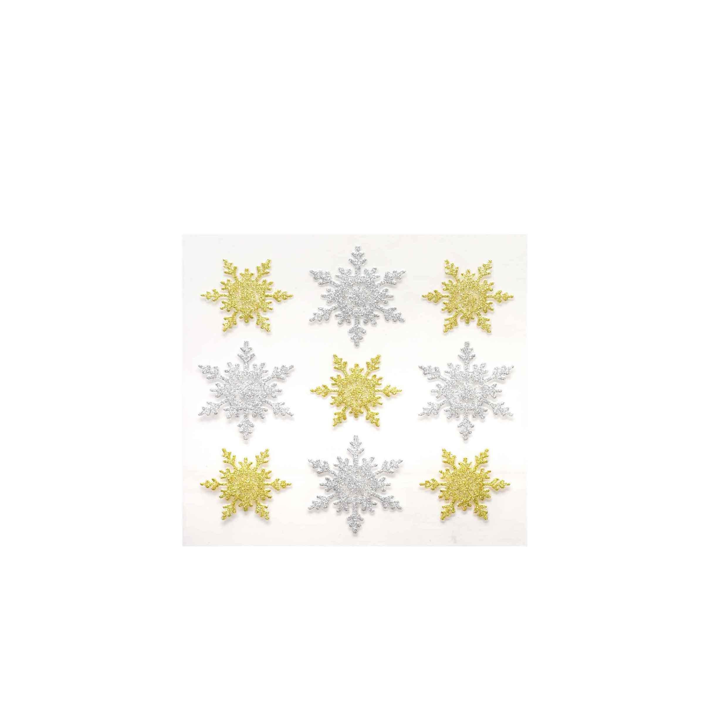 Stickers dorés adhésifs flocons de neige pour papier cadeau