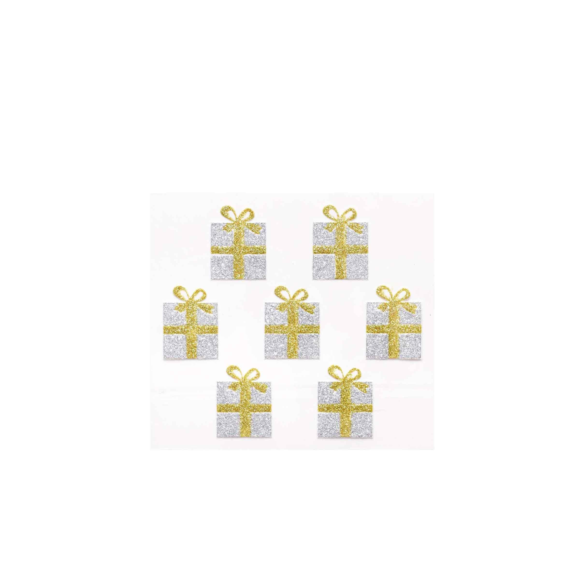 Autocollant motifs cadeaux argent et or