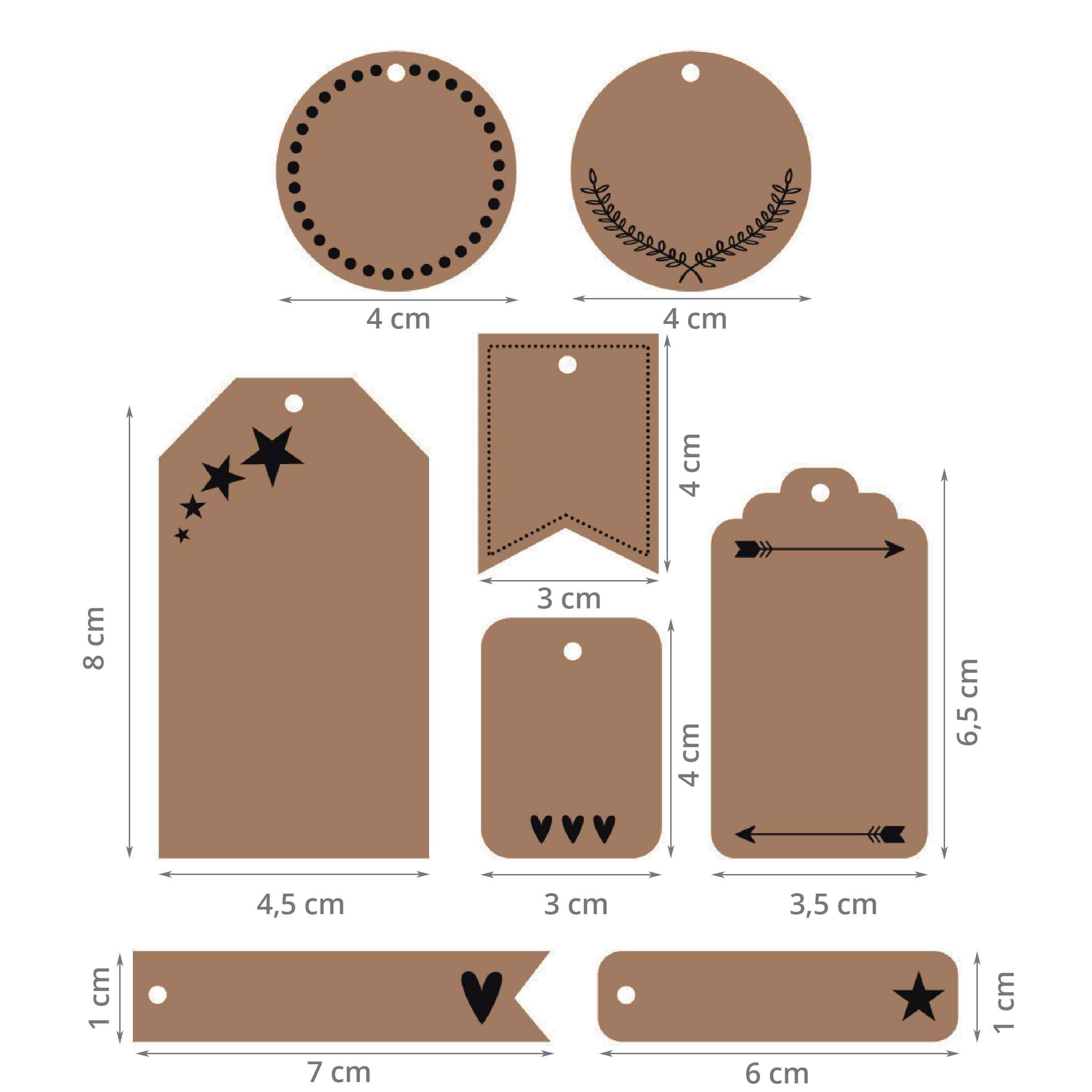 dimensions de chaque type d'étiquette