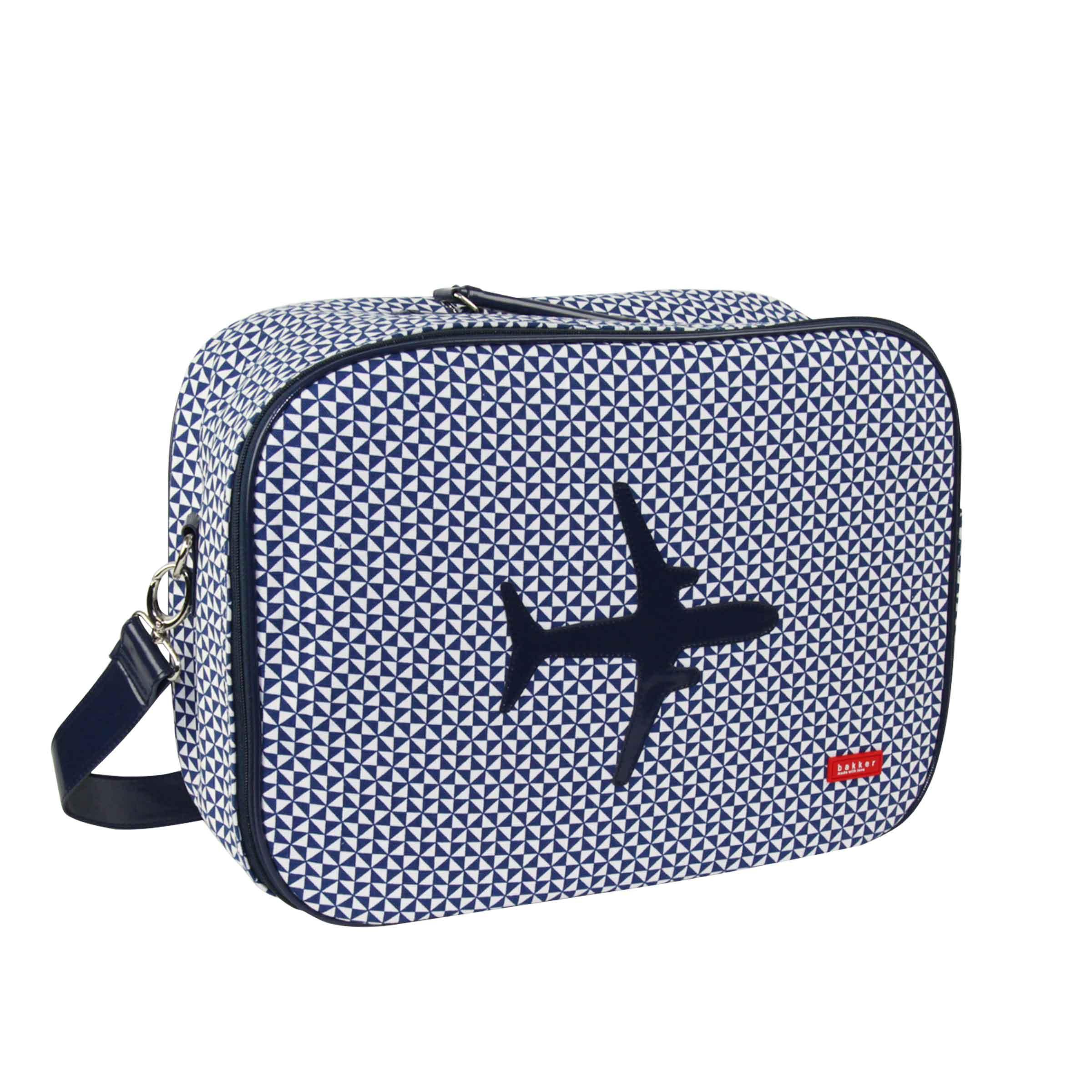 valisette en tissu bleu imprimés géométriques et motif avion taille M