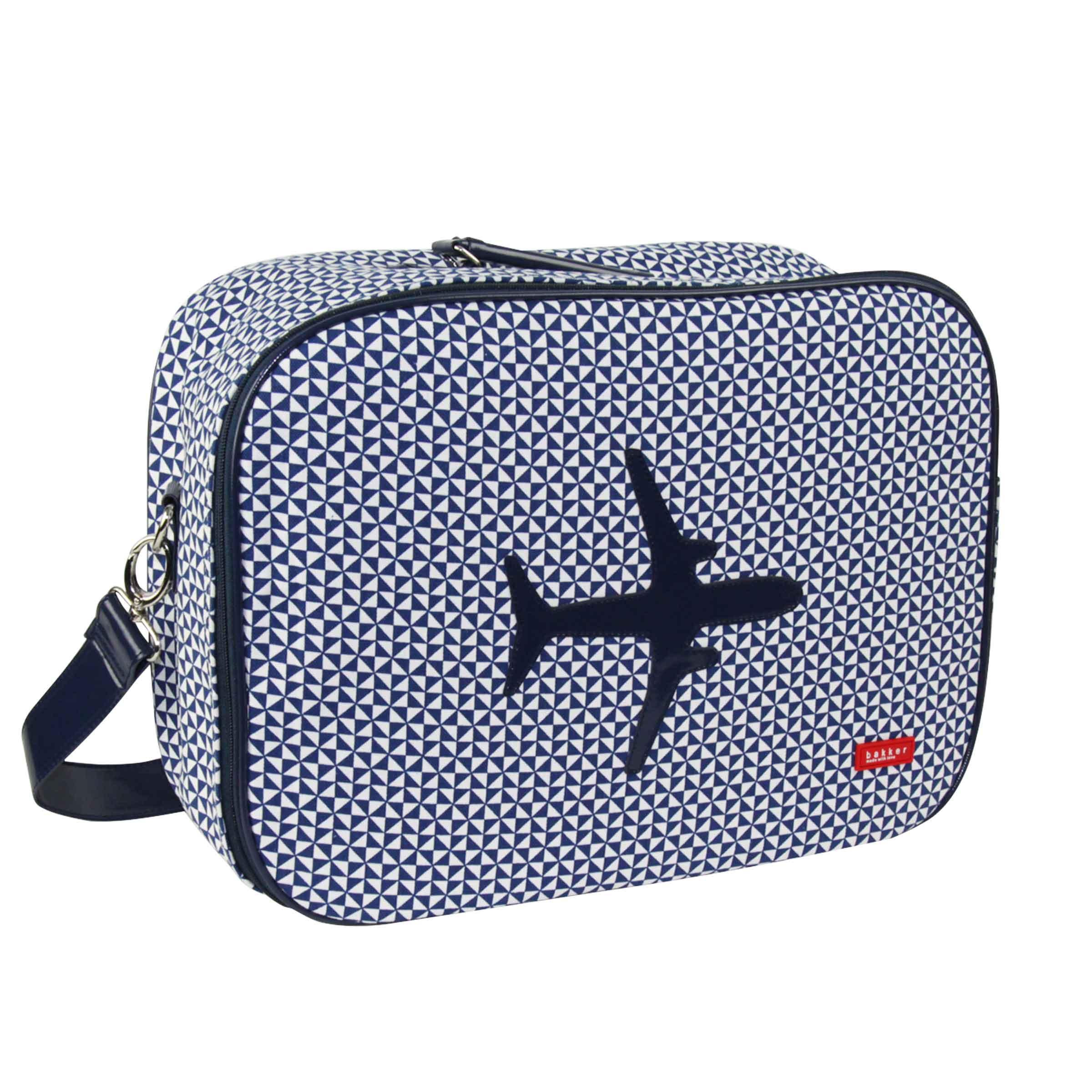 petite valise en tissu bleu motifs géométriques et avion taille M