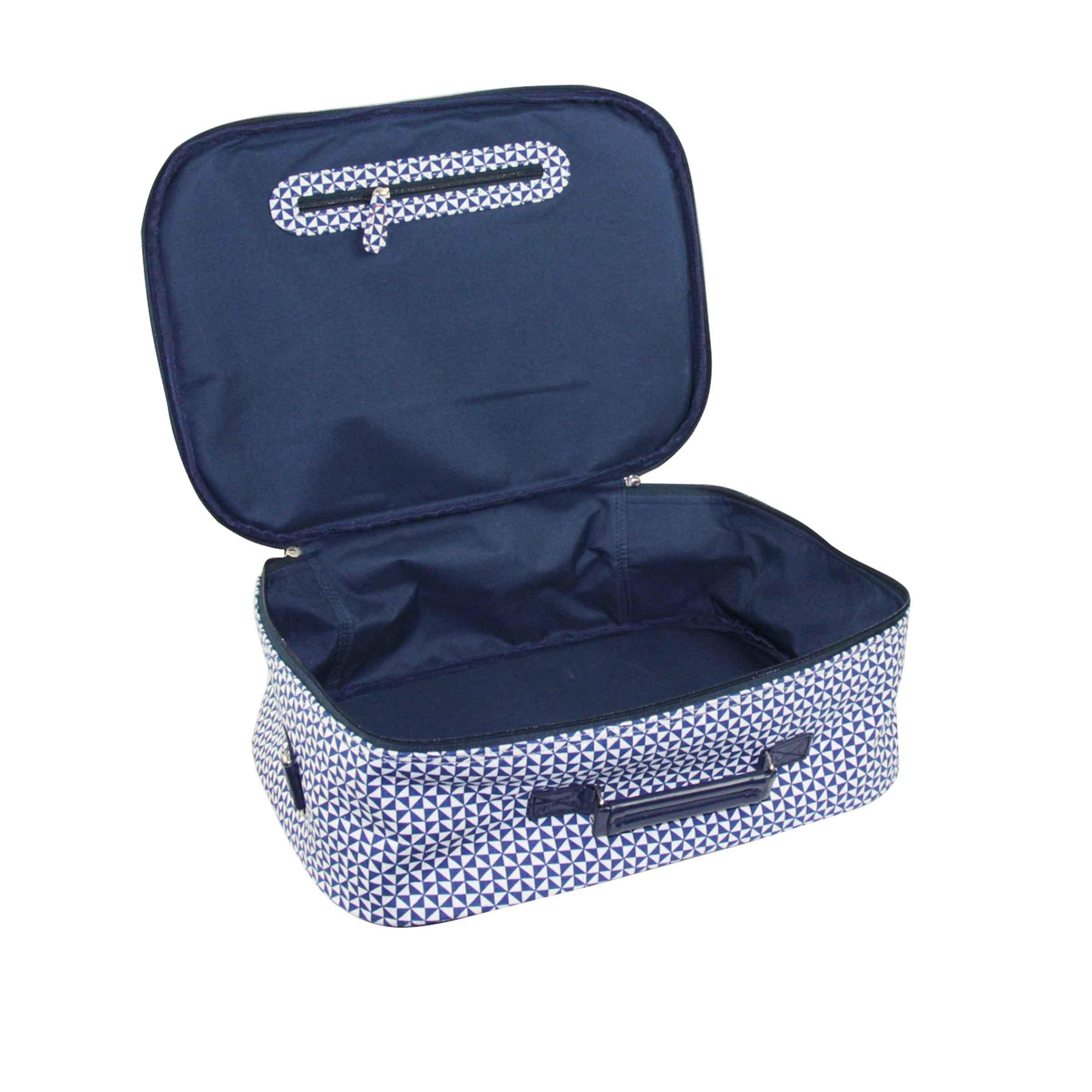 valise bleu en tissu avec motif avion et imprimés géométriques taille L